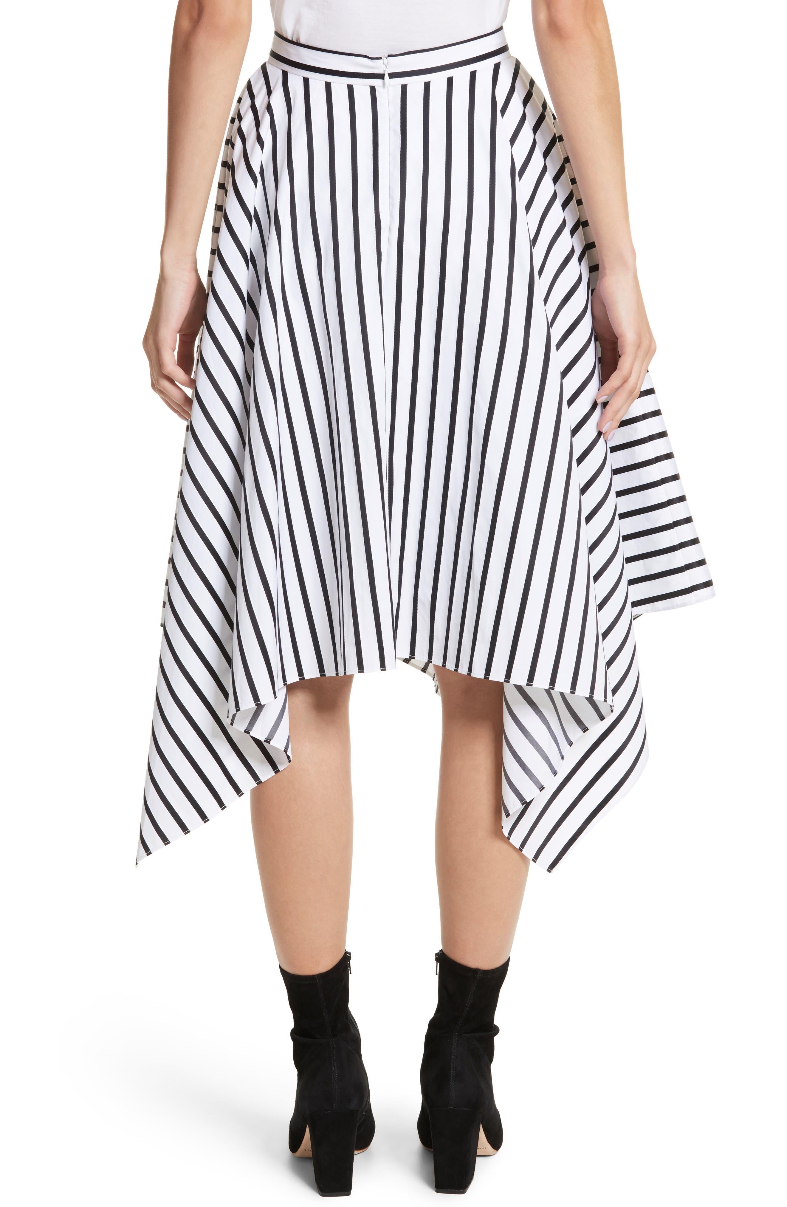 Stripe Cotton Asymmetrical Skirt,                             Alternate thumbnail 2, color,                             001