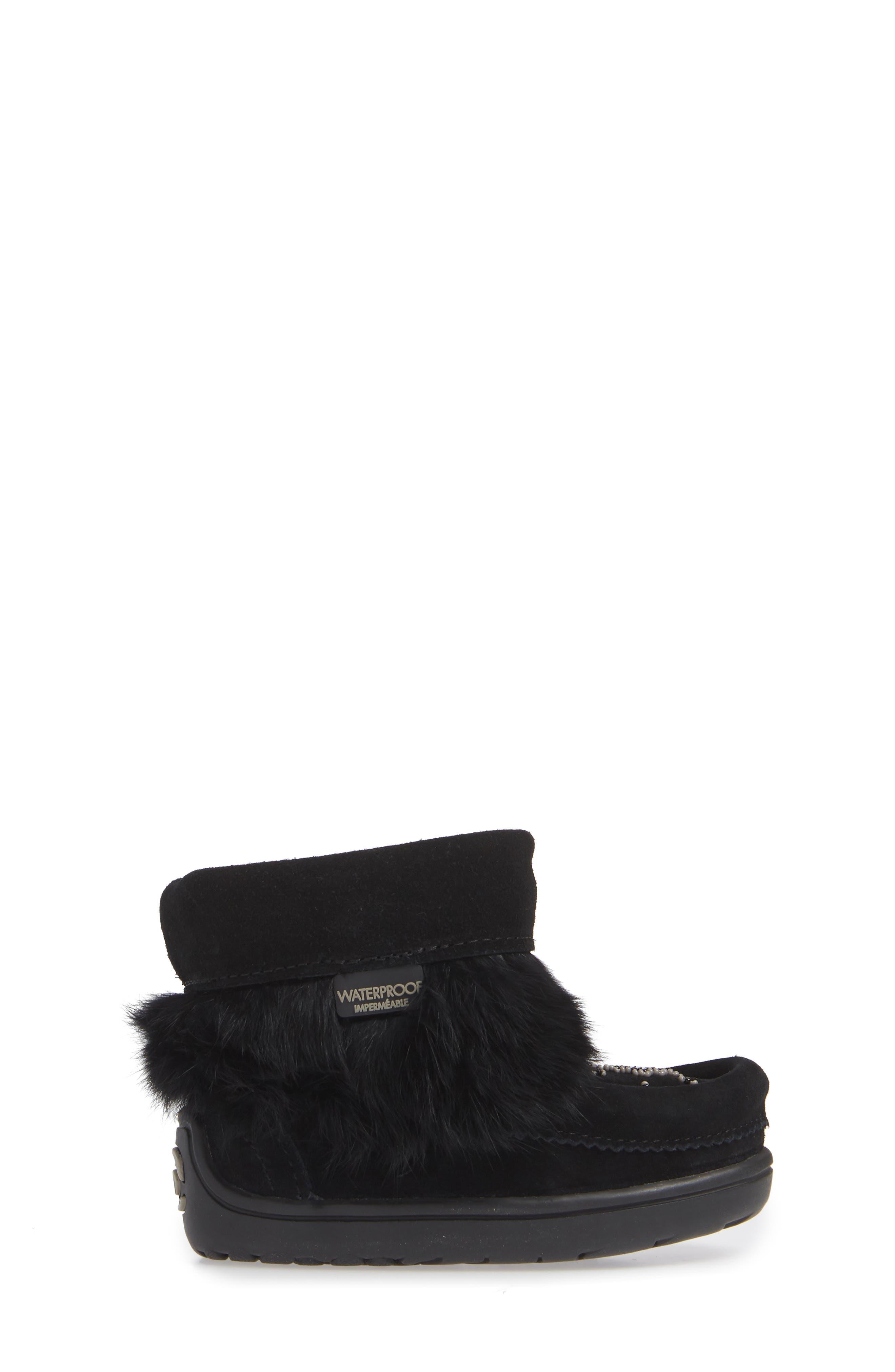 Snowy Owlet Genuine Fur Waterproof Boot,                             Alternate thumbnail 3, color,                             BLACK