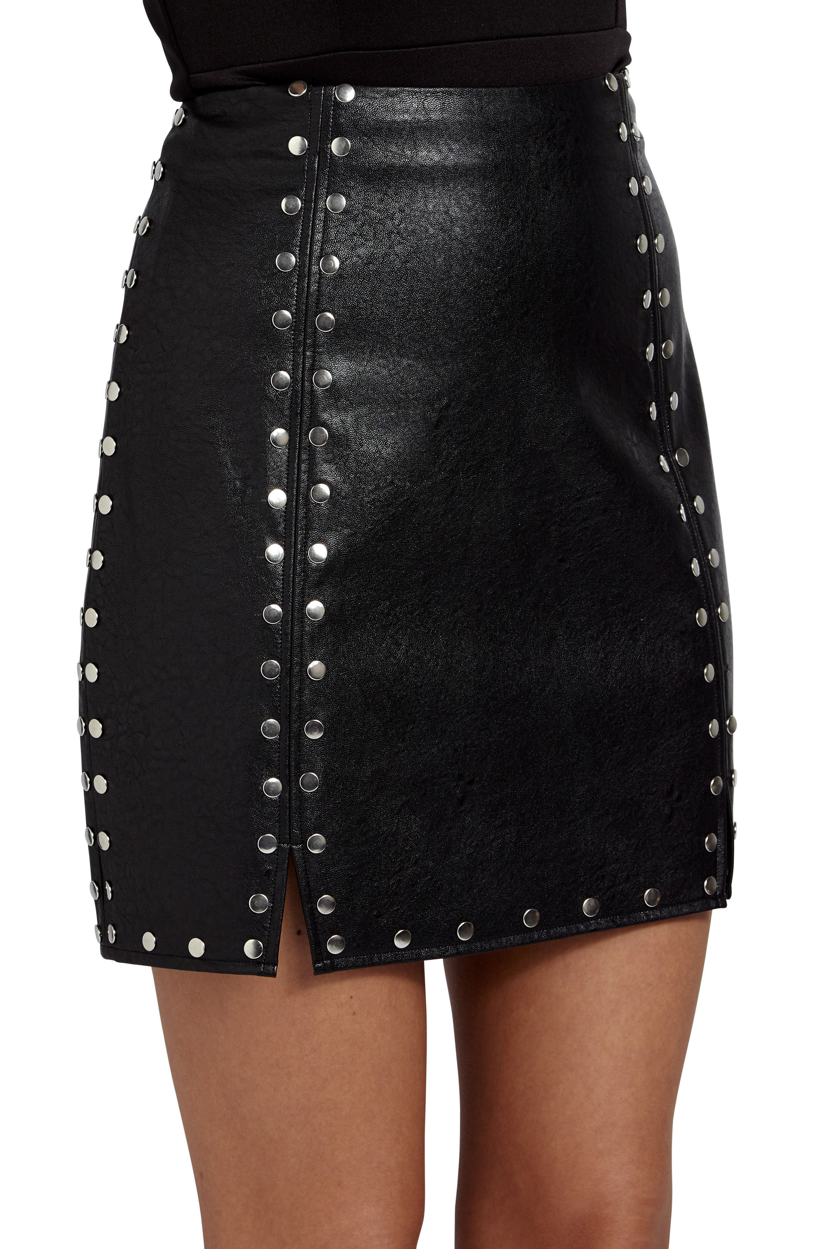 Studded Faux Leather Miniskirt,                             Alternate thumbnail 4, color,                             001