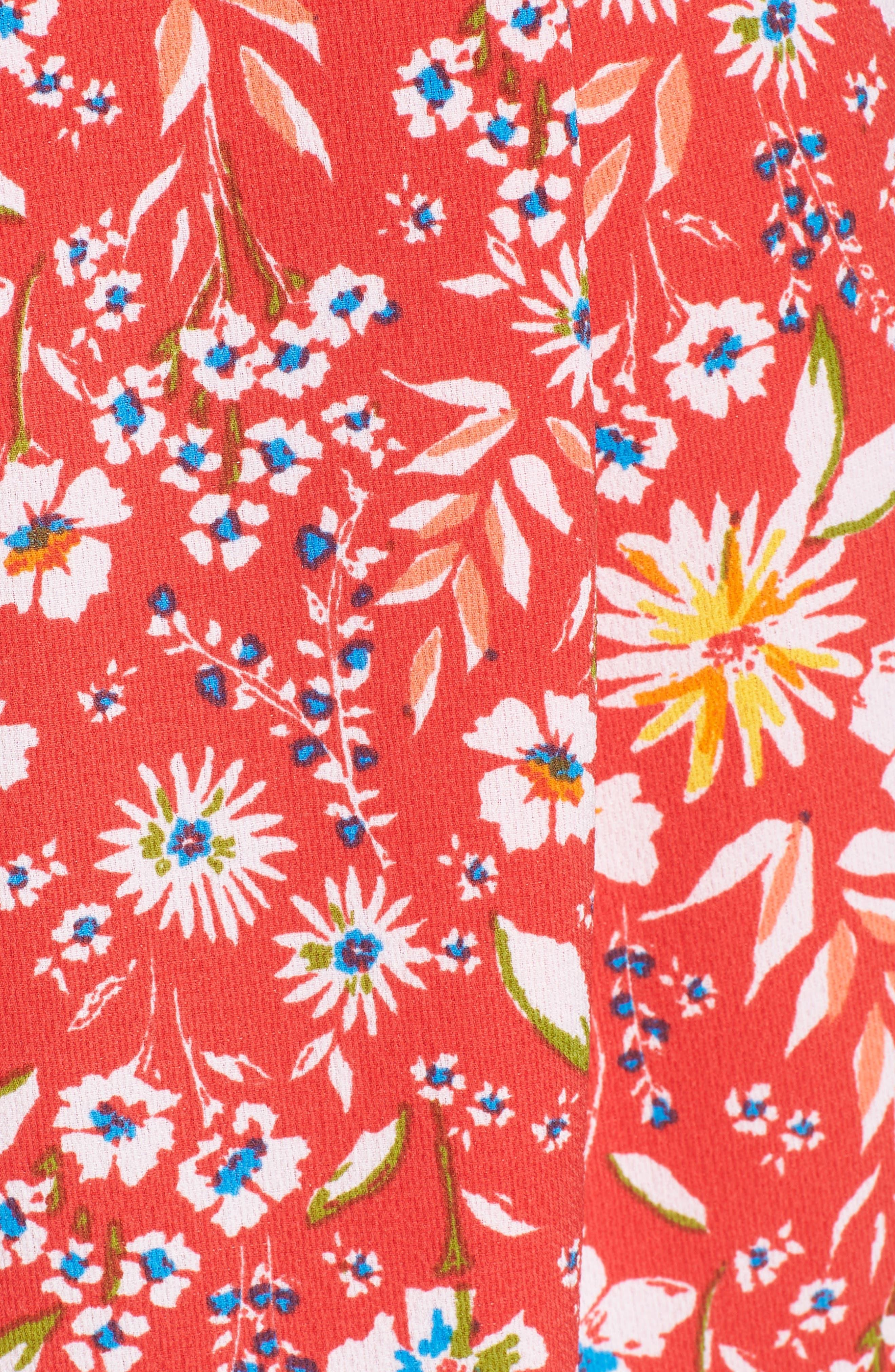Floral Romper,                             Alternate thumbnail 6, color,                             RED FLORAL