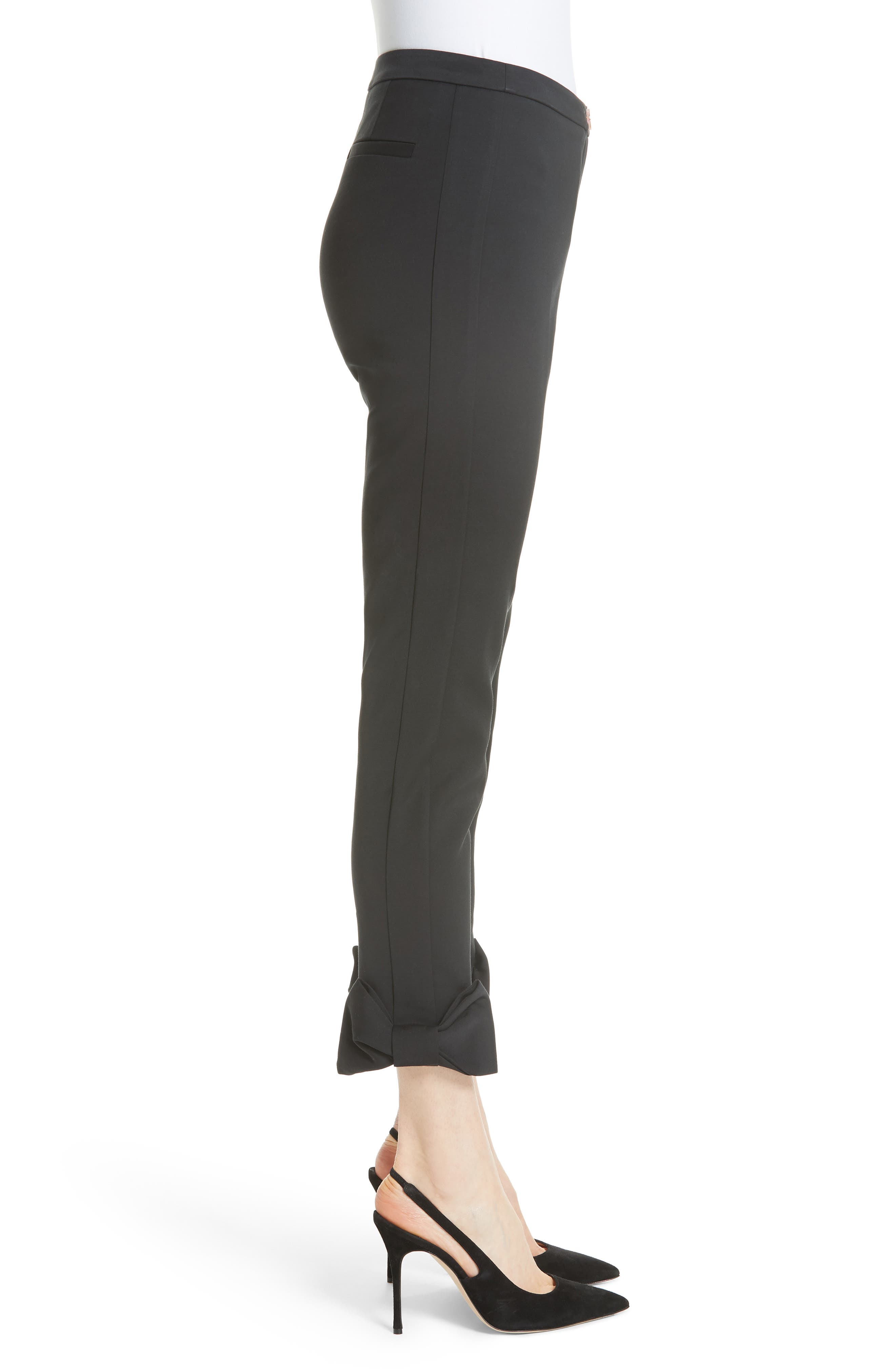 Toplyt Bow Cuff Ankle Pants,                             Alternate thumbnail 3, color,                             001
