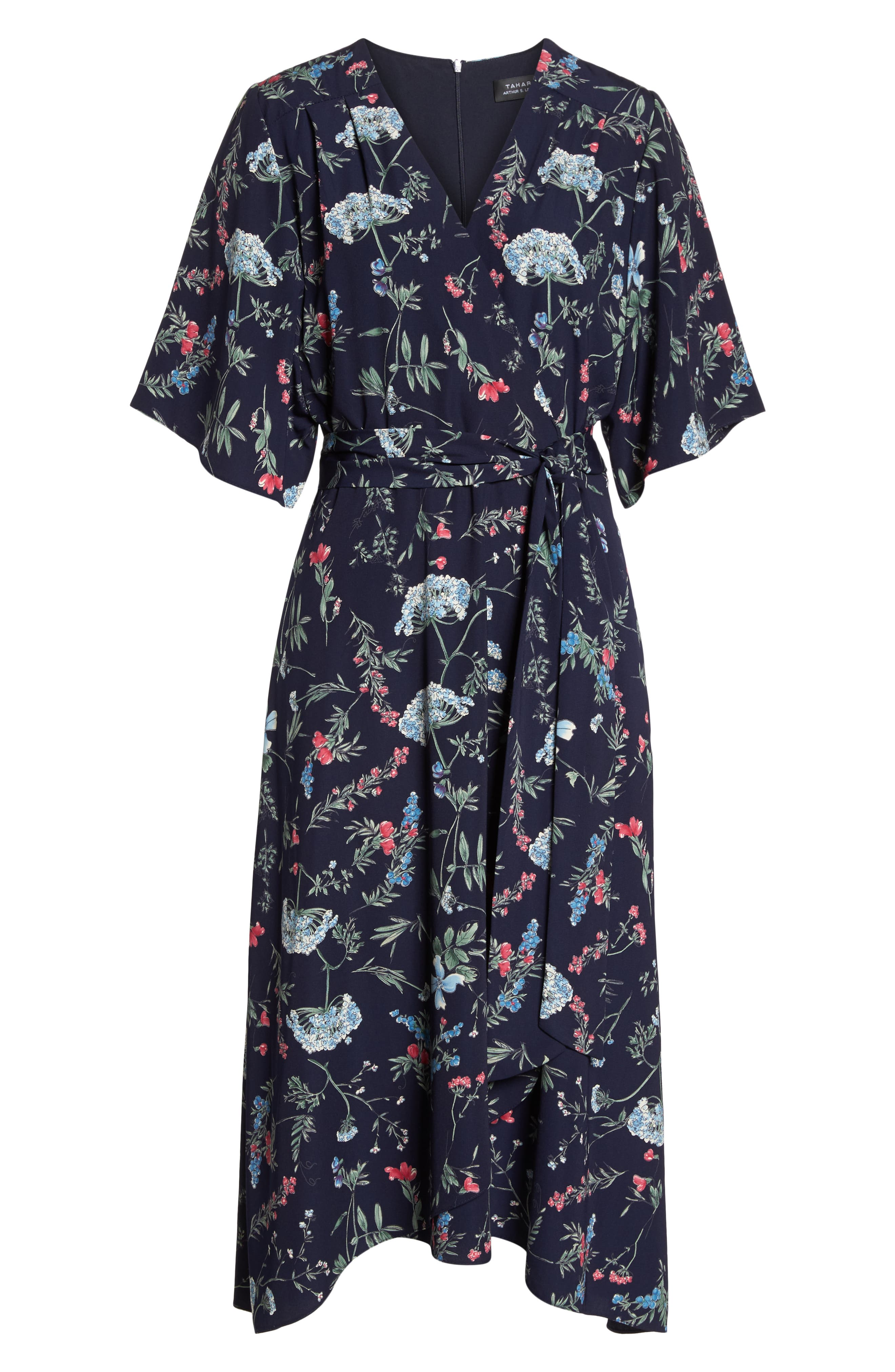 Floral Print Faux Wrap Midi Dress,                             Alternate thumbnail 7, color,                             600