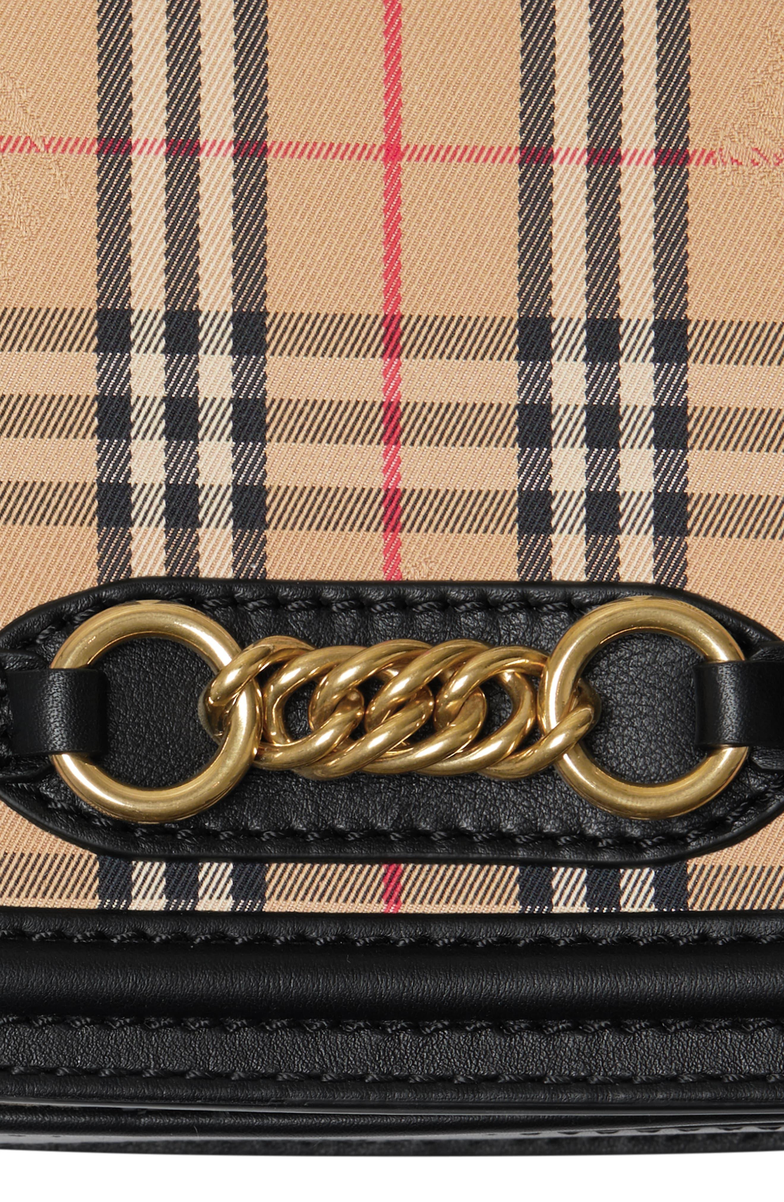 Vintage Check Link Flap Crossbody Bag,                             Alternate thumbnail 6, color,                             BLACK