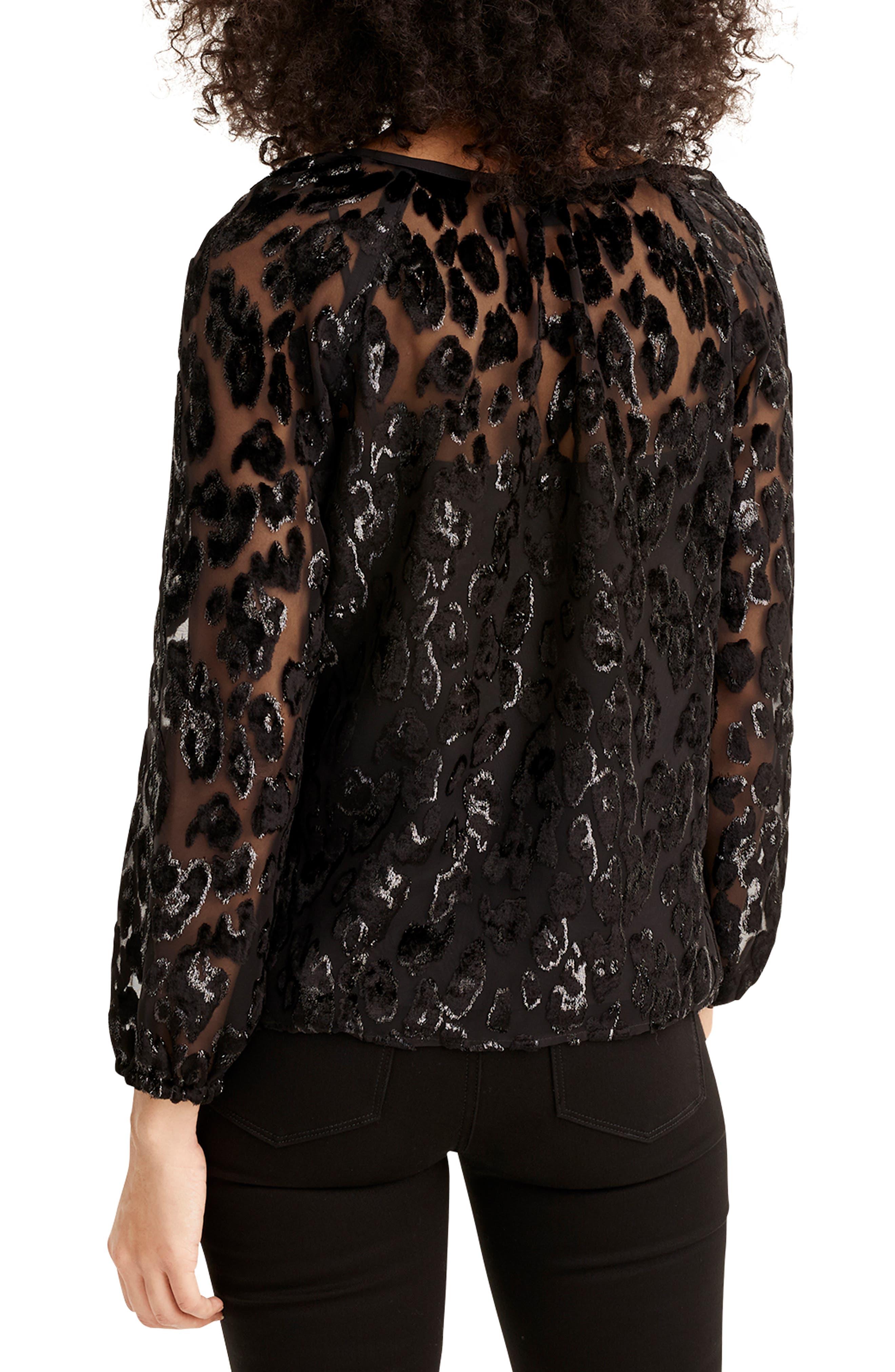 Leopard Velvet Popover Top,                             Alternate thumbnail 2, color,                             BLACK