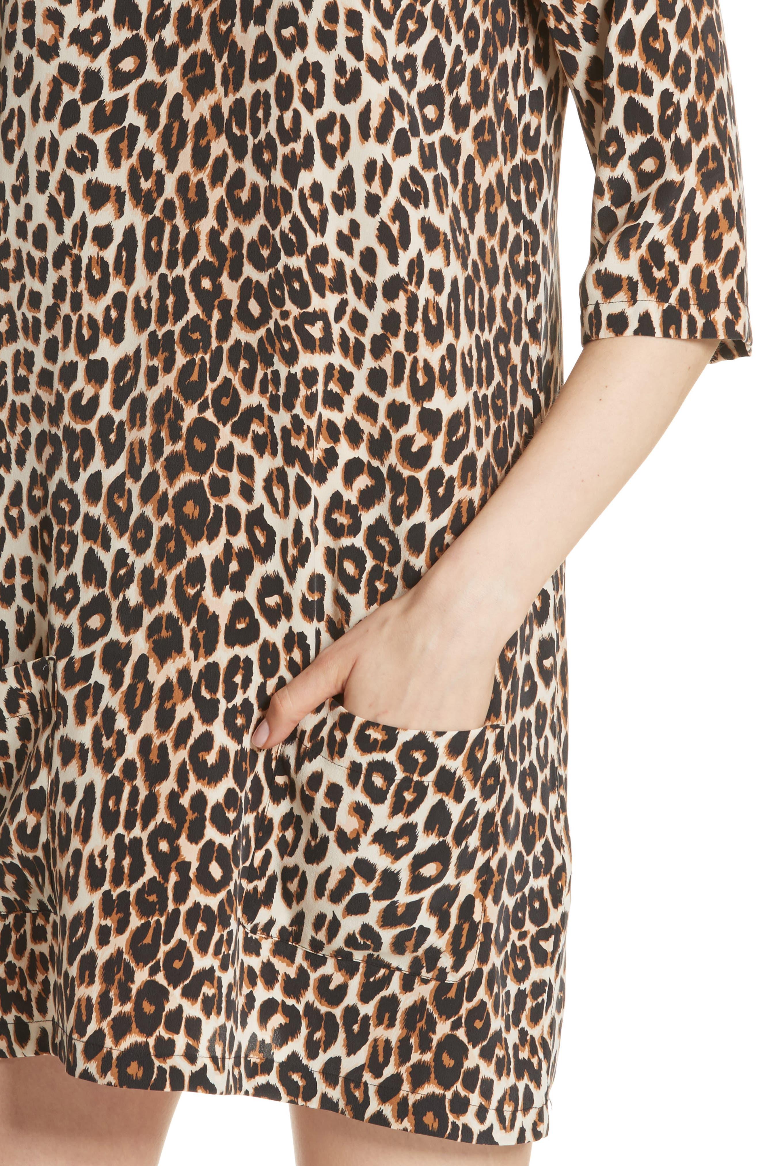 Leopard Print Silk Shift Dress,                             Alternate thumbnail 4, color,                             101