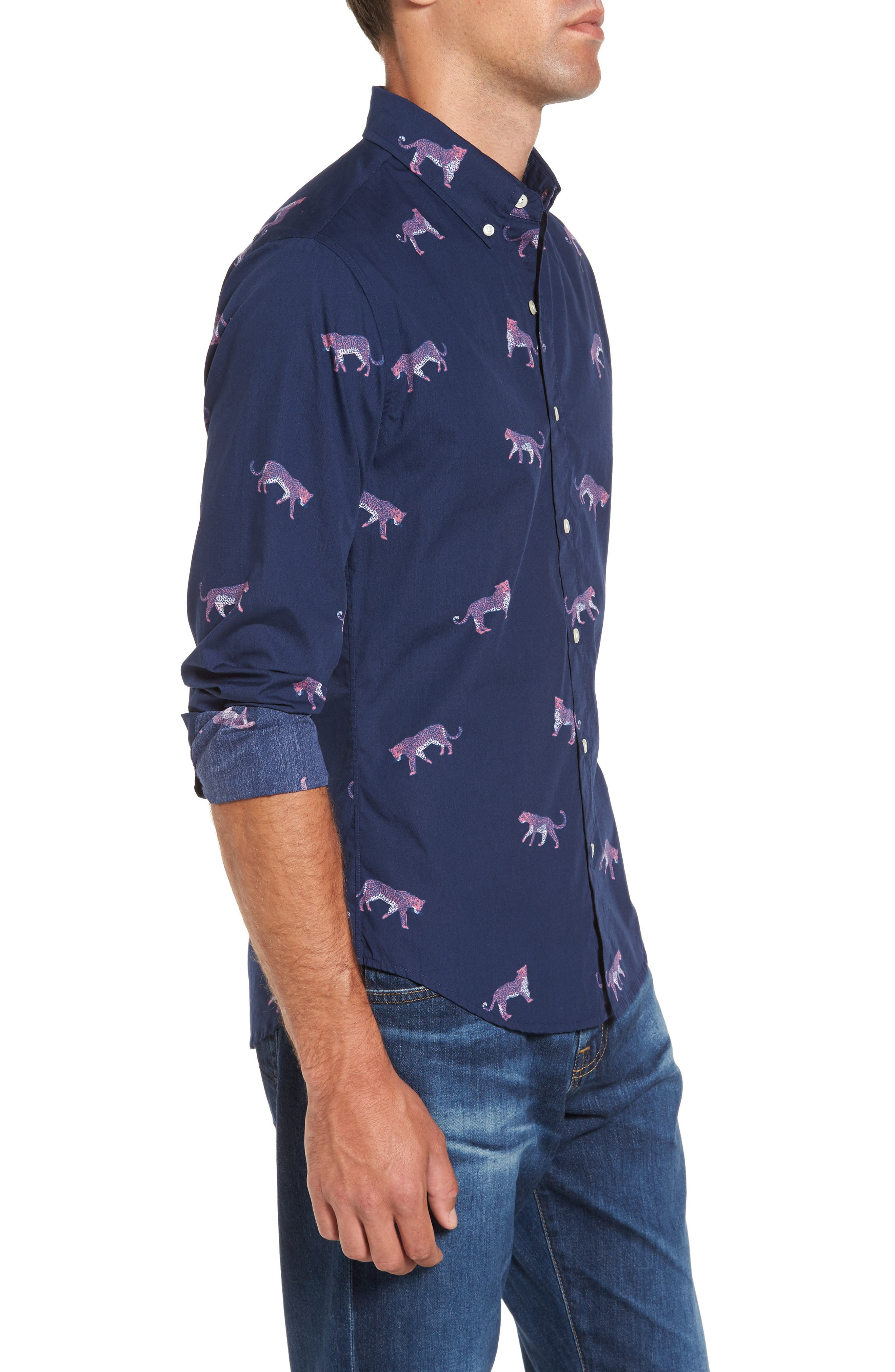 Slim Fit Washed Cheetah Print Sport Shirt,                             Alternate thumbnail 4, color,                             400