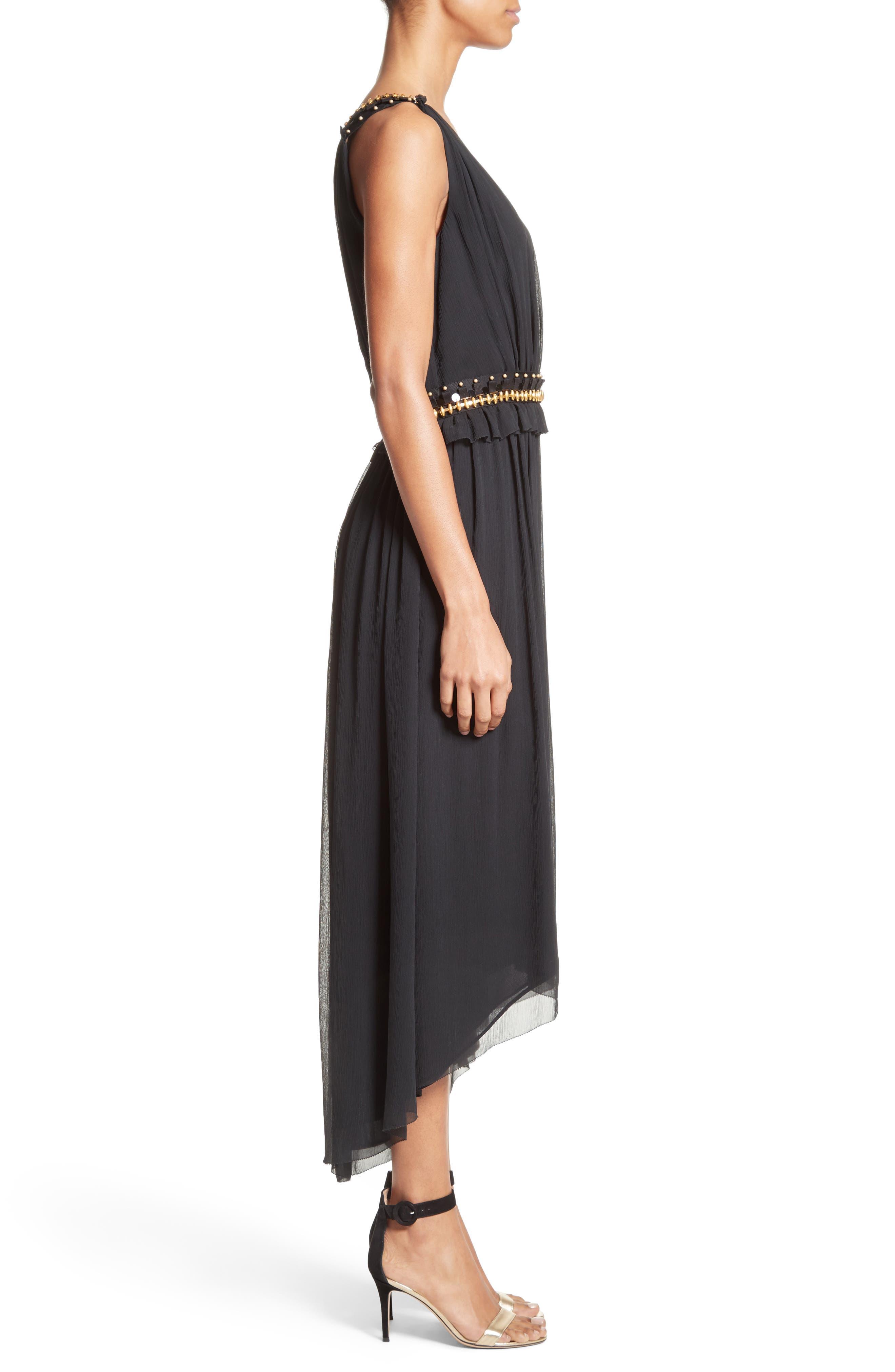 Crinkled Silk Georgette Dress,                             Alternate thumbnail 3, color,                             001