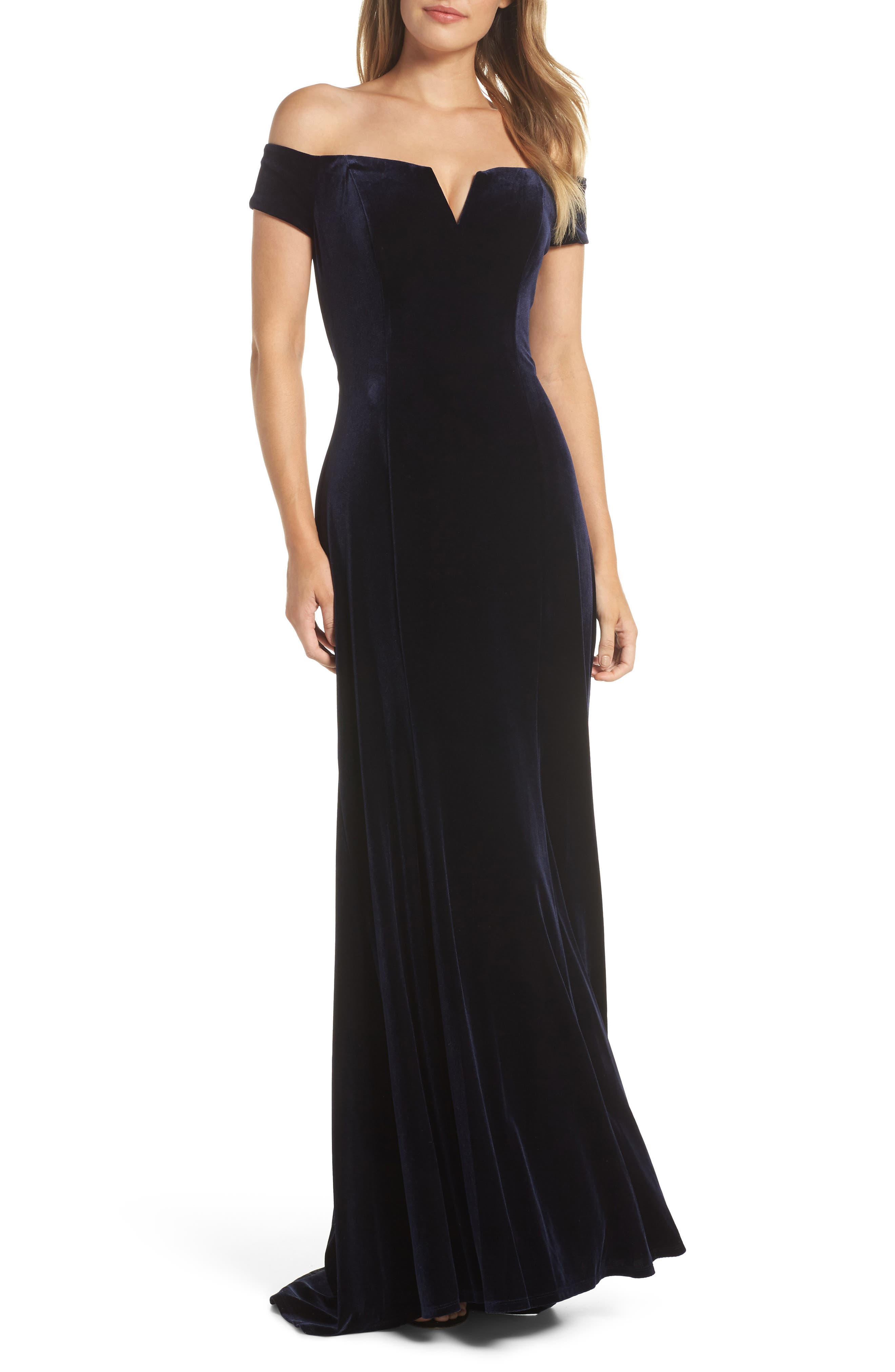 Notch Neck Velvet Off the Shoulder Gown,                         Main,                         color, NAVY