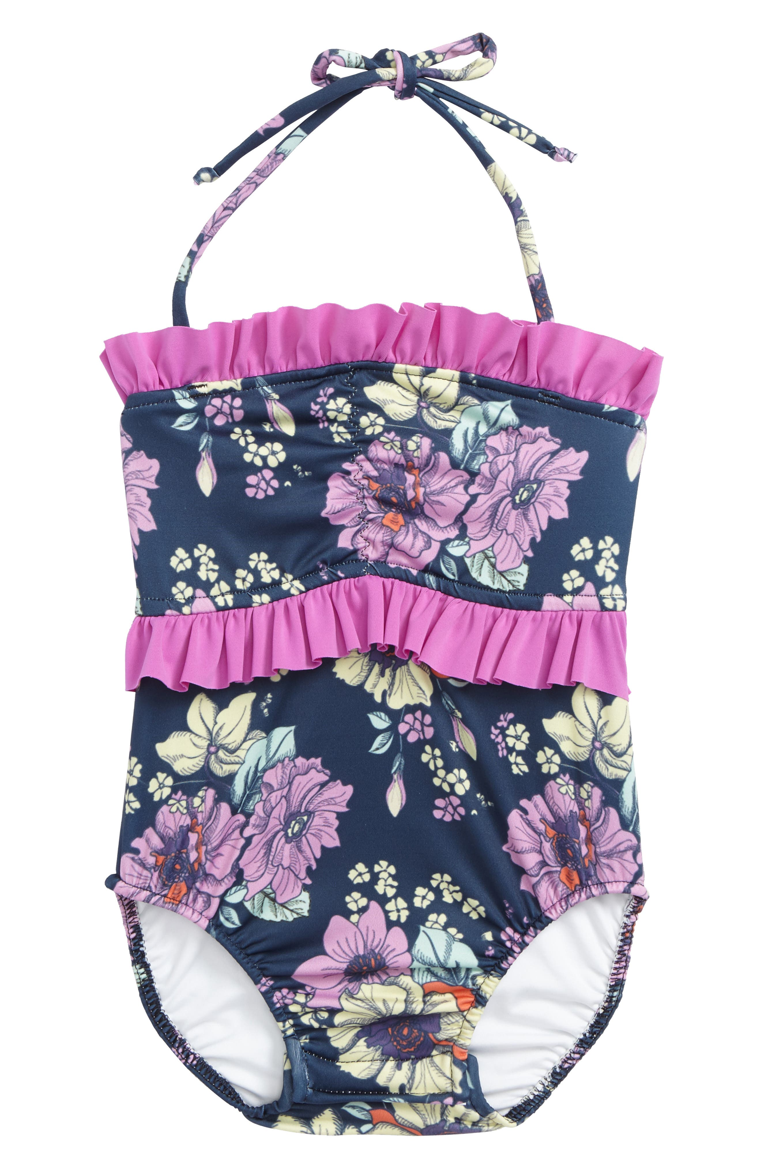 Ruffle One-Piece Swimsuit,                             Main thumbnail 1, color,                             400