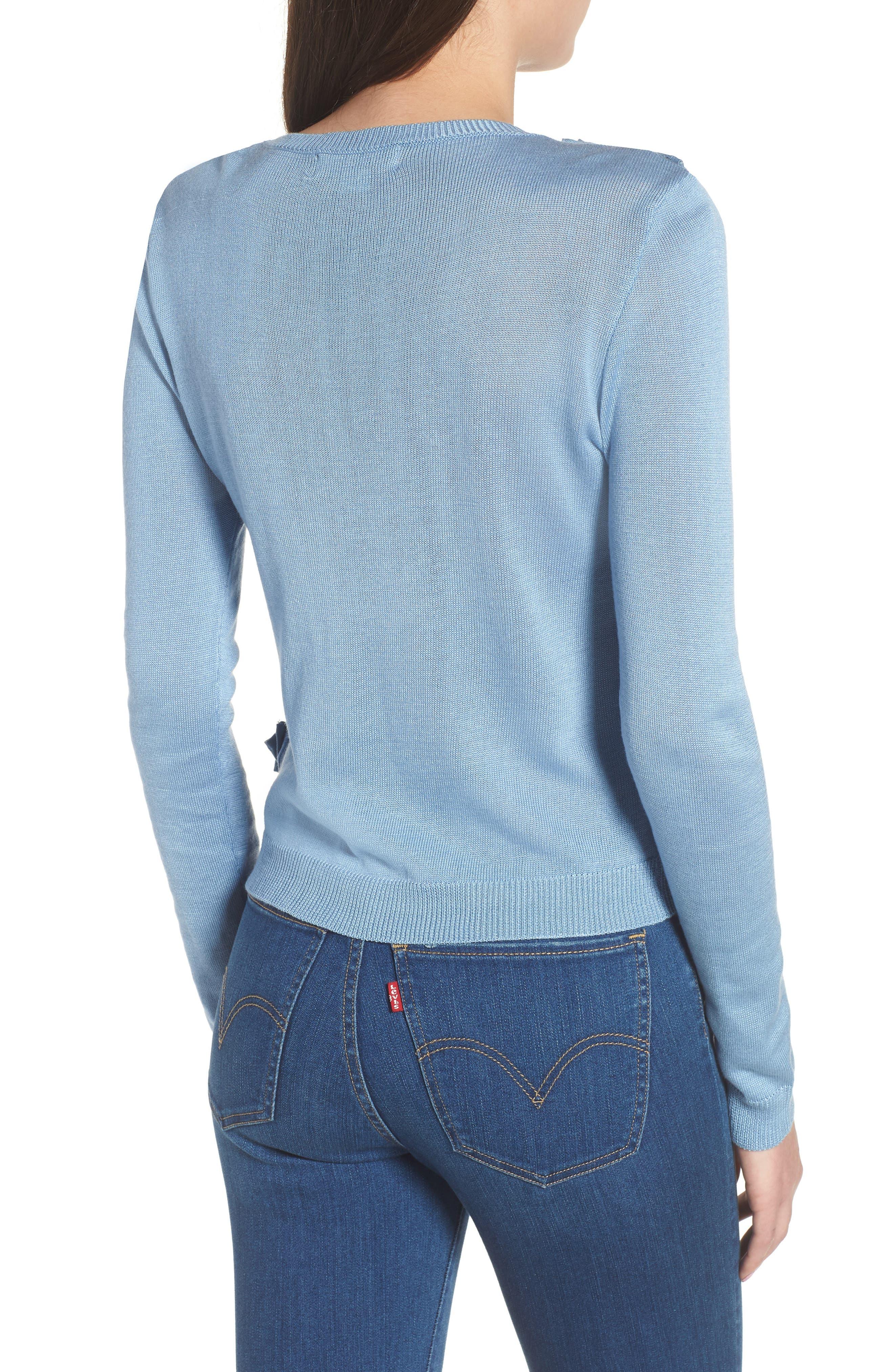 Asymmetrical Ruffle Sweater,                             Alternate thumbnail 2, color,