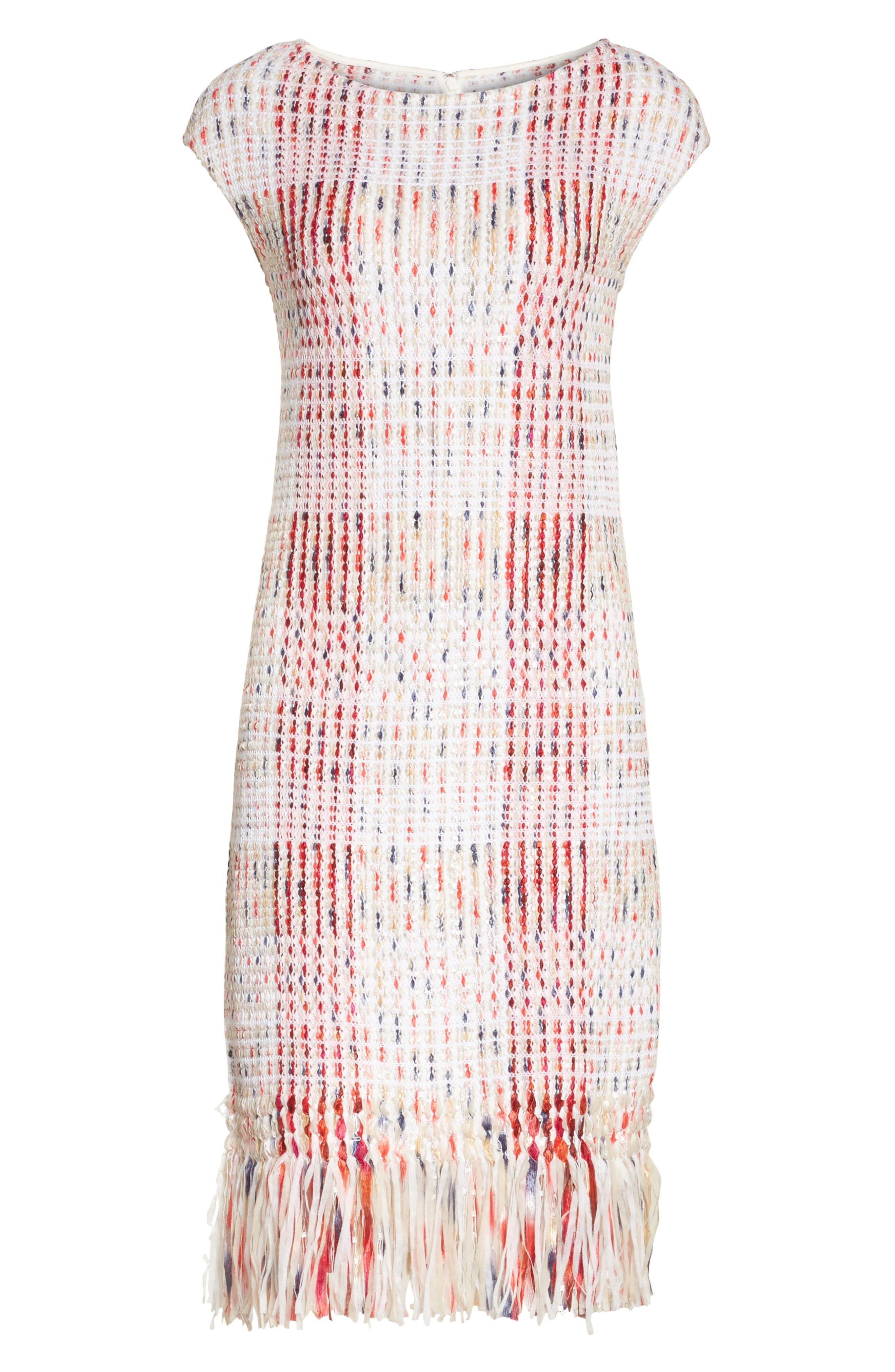 Ribbon Macro Plaid Knit Dress,                             Alternate thumbnail 6, color,                             660