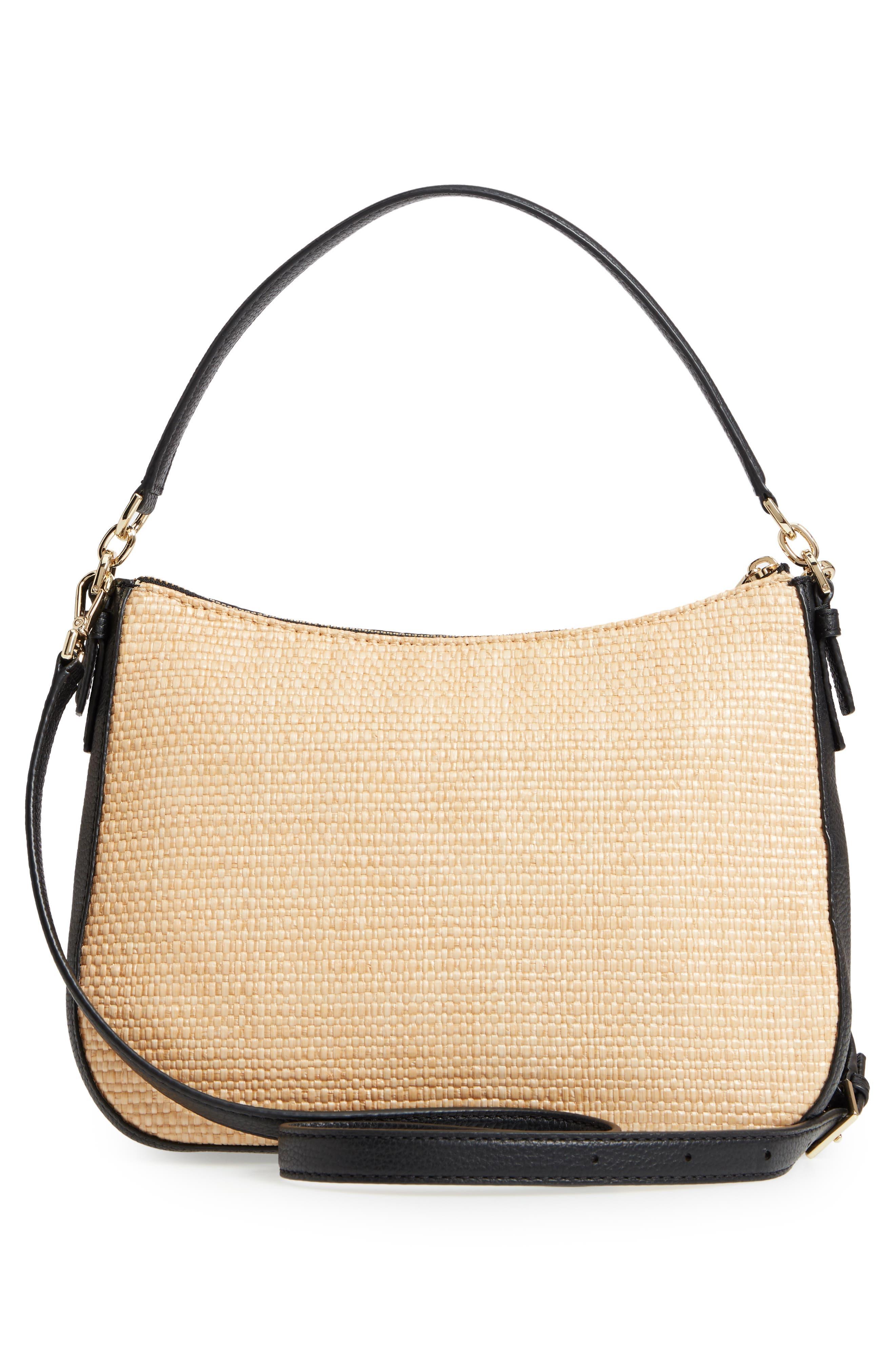 KATE SPADE NEW YORK,                             jackson street - colette straw & leather satchel,                             Alternate thumbnail 3, color,                             257