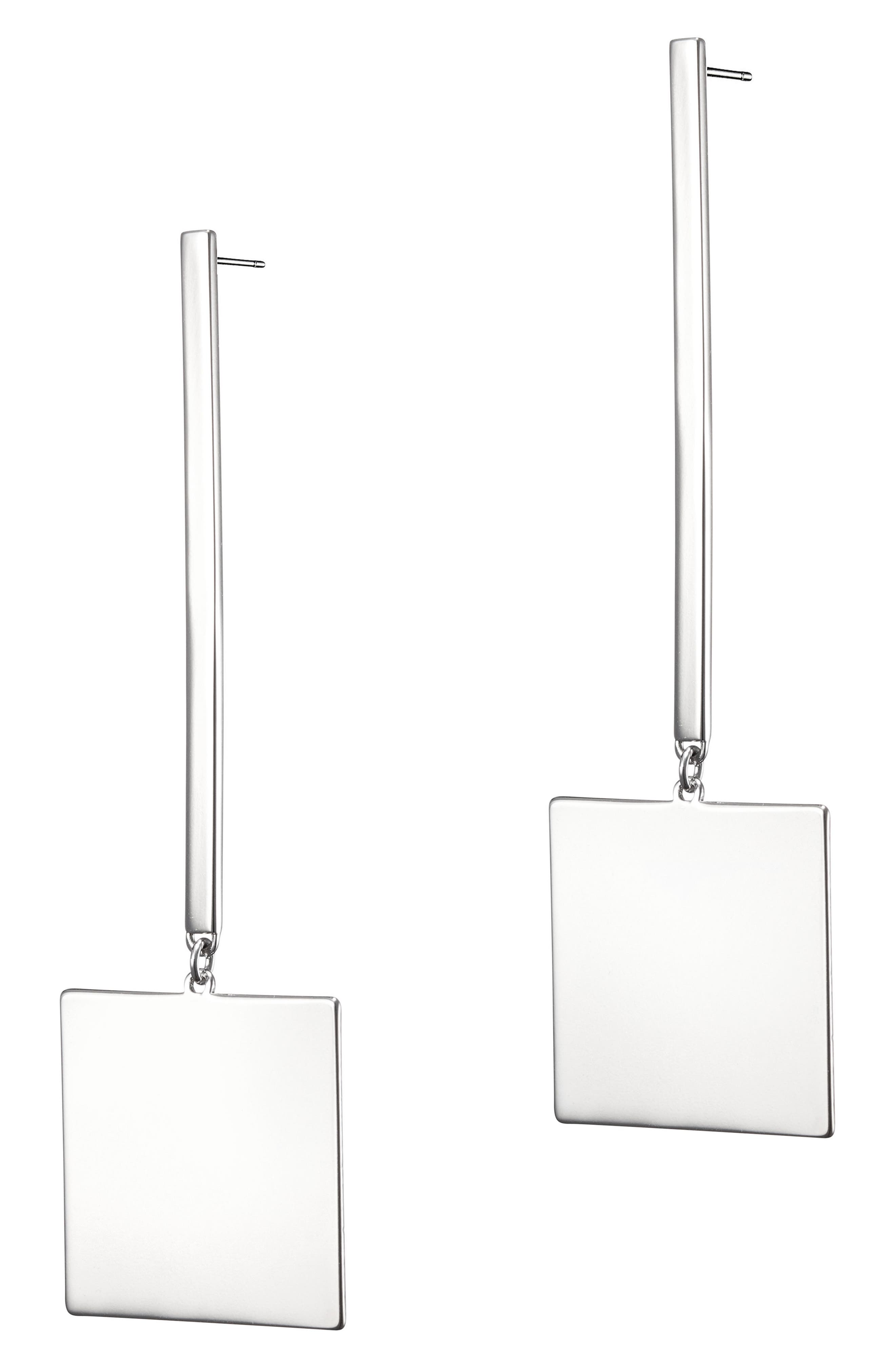 Harbour Square Drop Earrings,                         Main,                         color, SILVER
