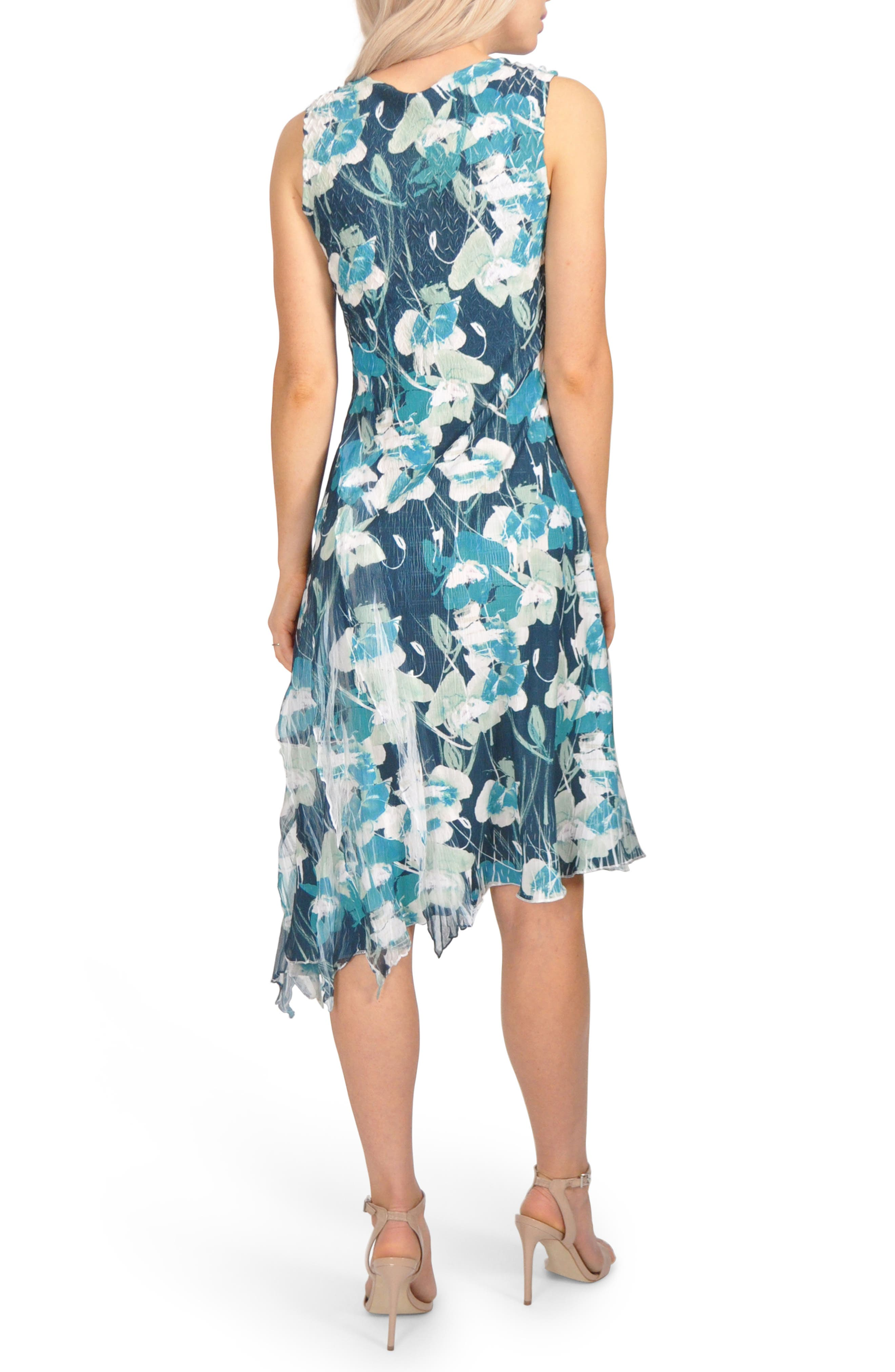 Floral Asymmetric Chiffon Dress,                             Alternate thumbnail 2, color,                             439