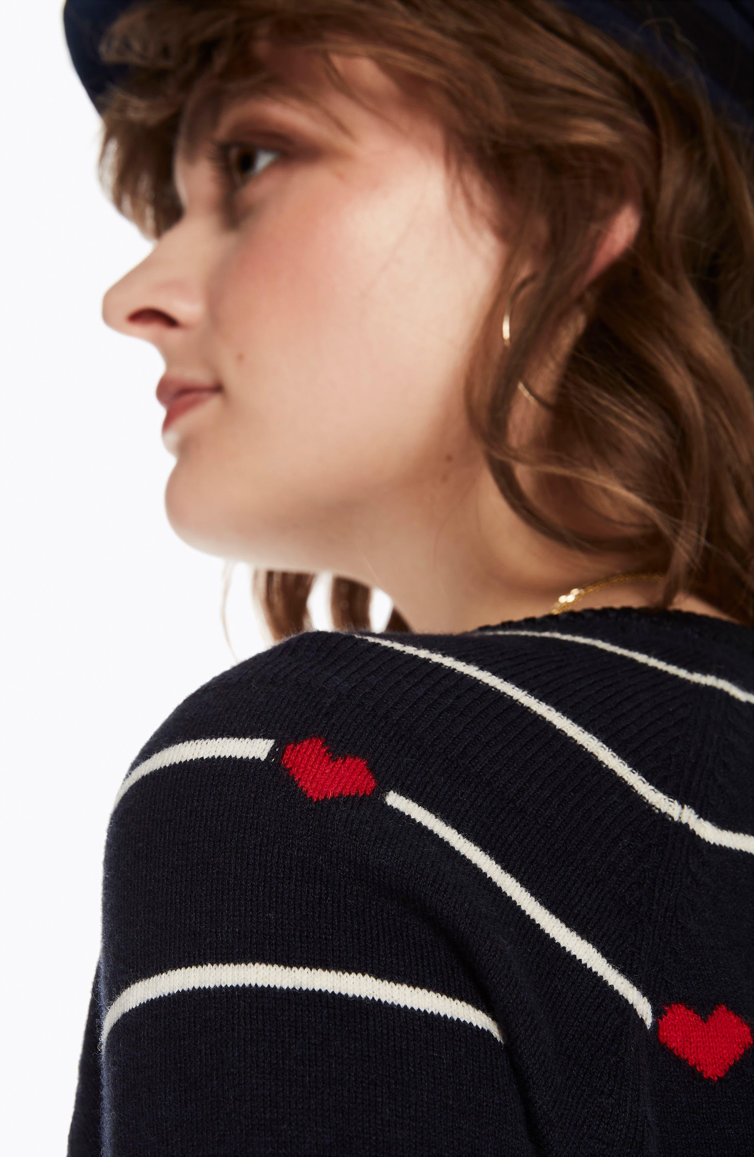 Button Detail Heart Stripe Sweater,                             Alternate thumbnail 5, color,                             18 COMBO B