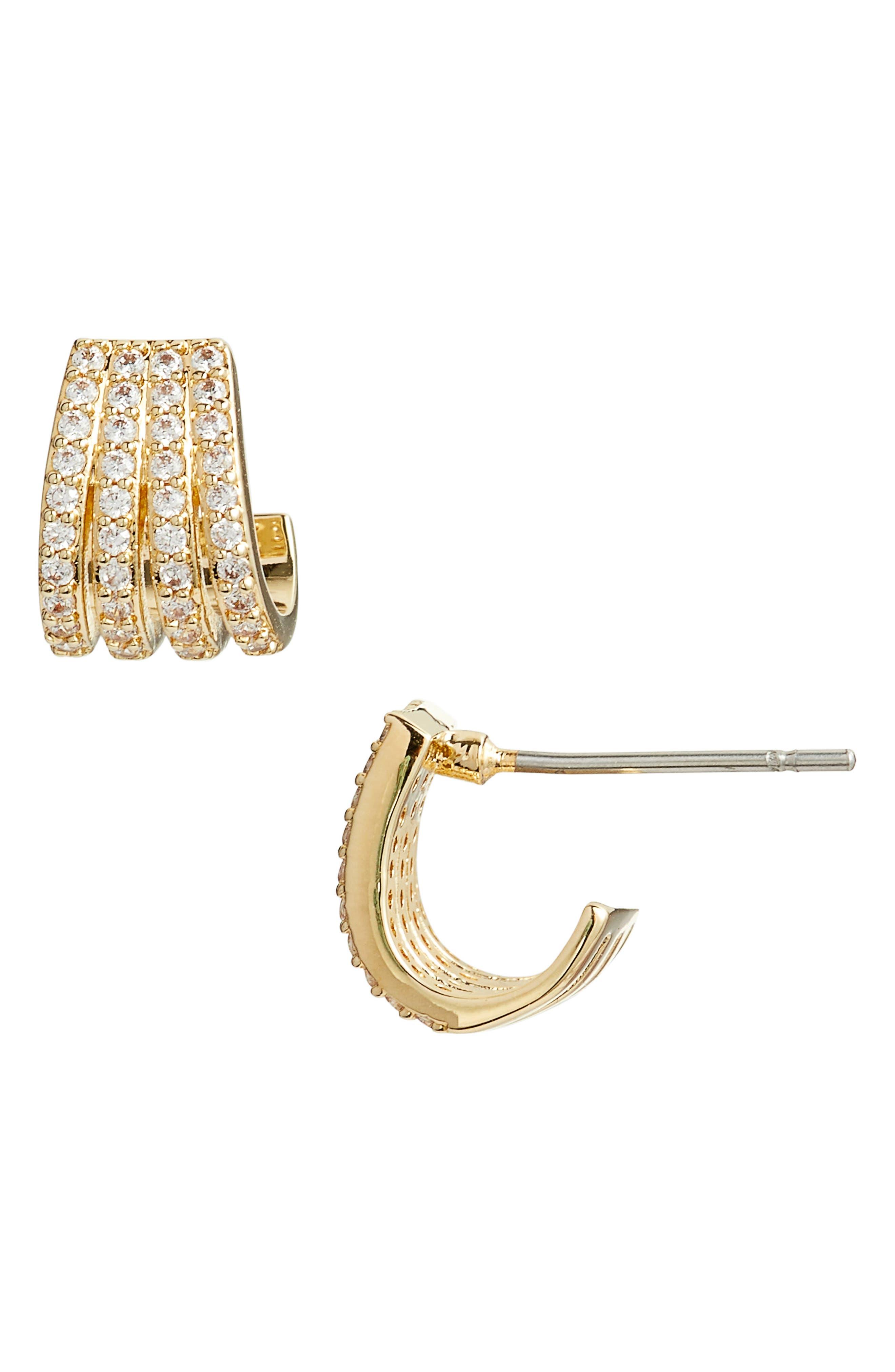 Multirow Pavé Huggie Earrings, Main, color, CLEAR- GOLD