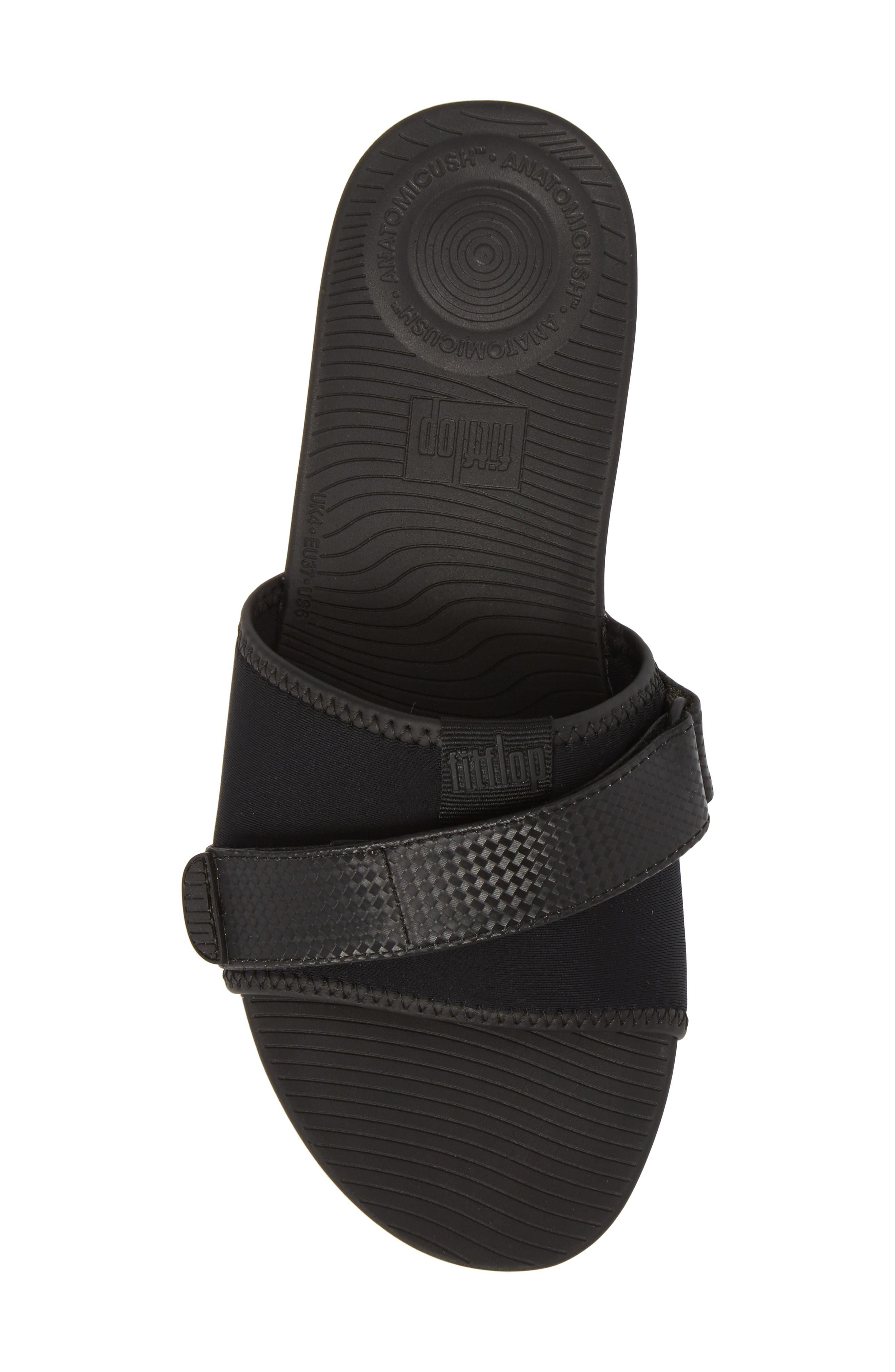 Neoflex Slide Sandal,                             Alternate thumbnail 5, color,                             BLACK FABRIC