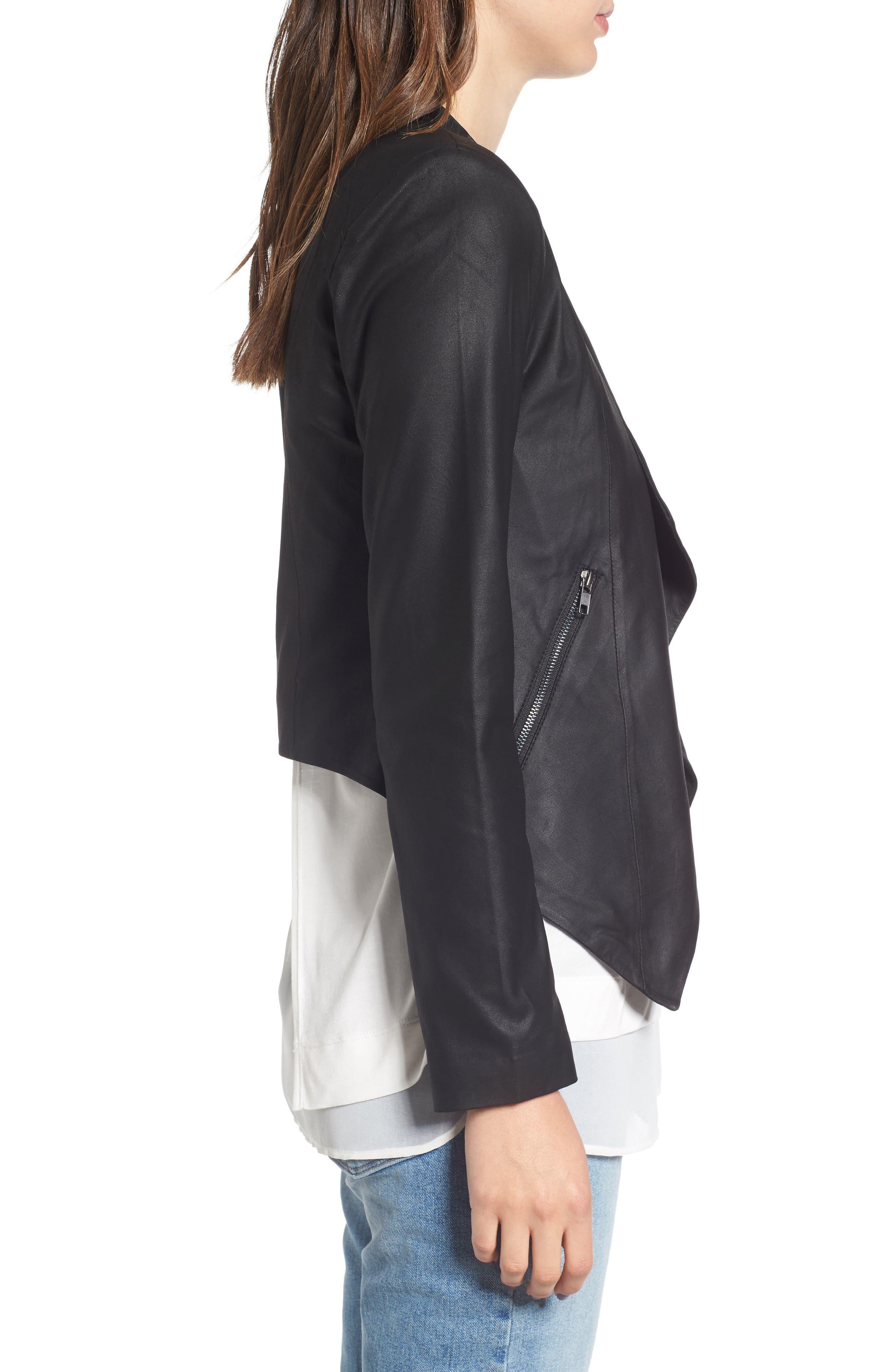 Brycen Leather Drape Front Jacket,                             Alternate thumbnail 3, color,                             001
