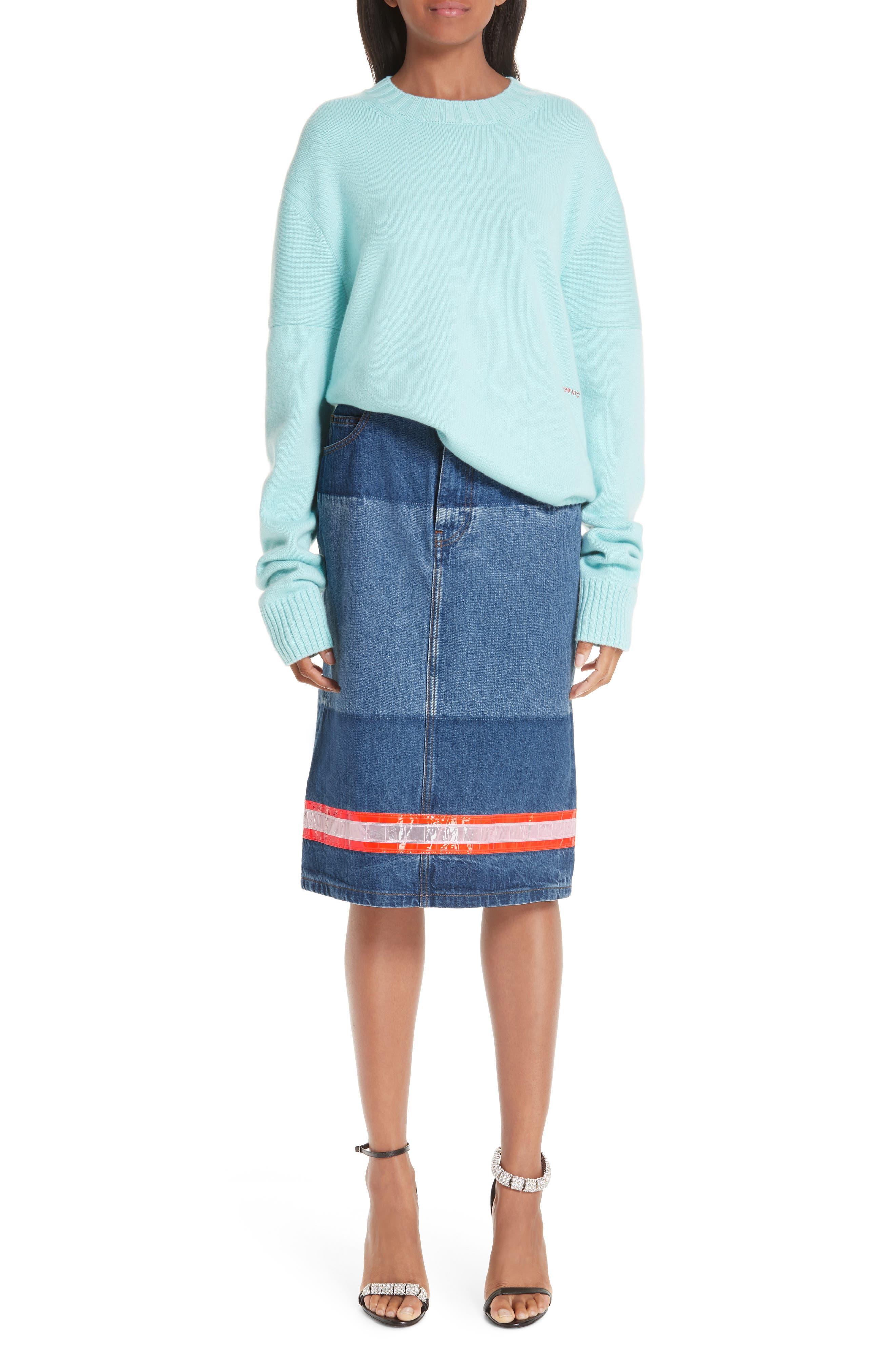 CALVIN KLEIN 205W39NYC,                             Reflective Stripe Mixed Wash Denim Skirt,                             Alternate thumbnail 7, color,                             BLUE