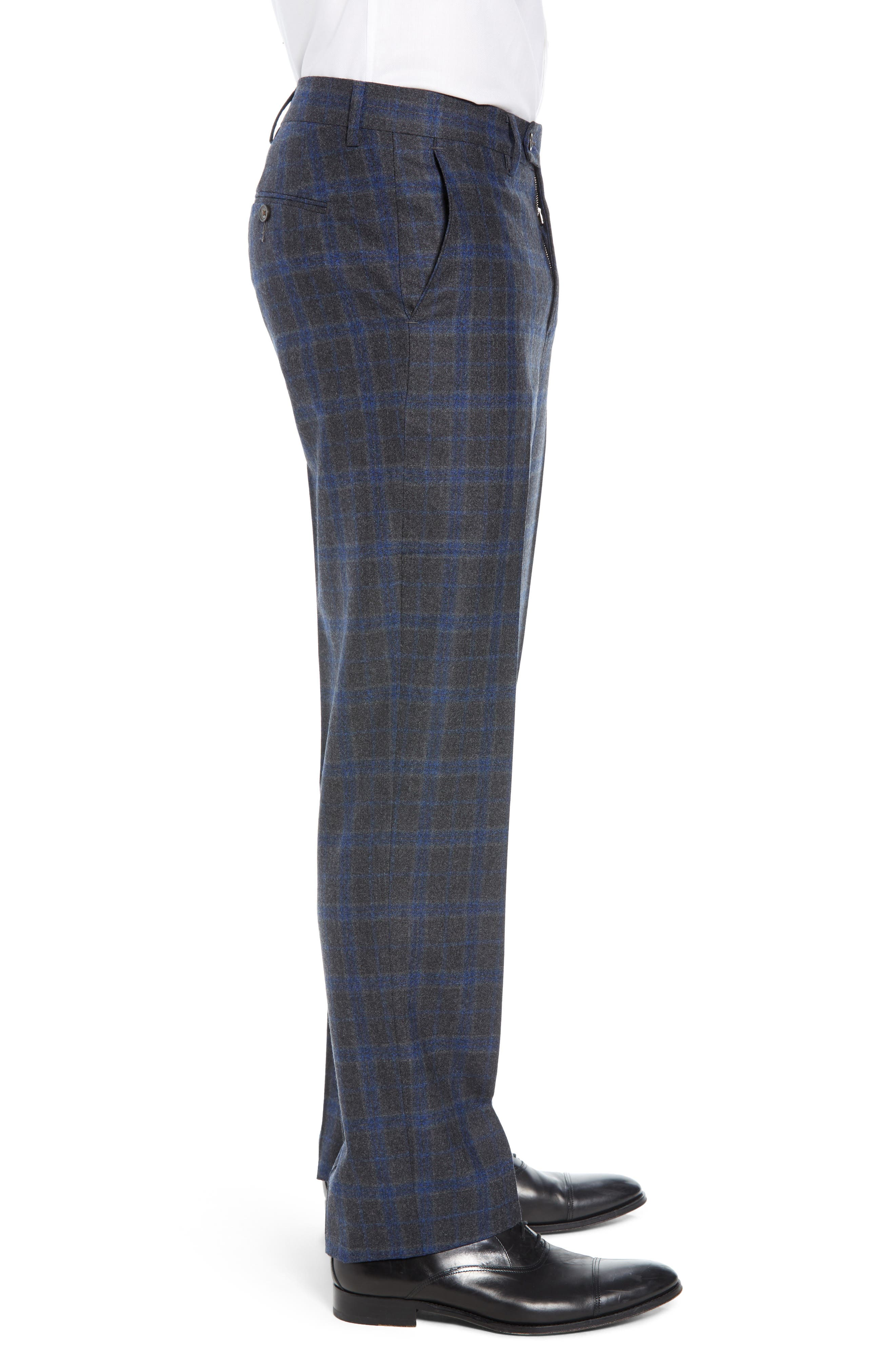 Manufacturing Flat Front Plaid Wool Trousers,                             Alternate thumbnail 3, color,                             021