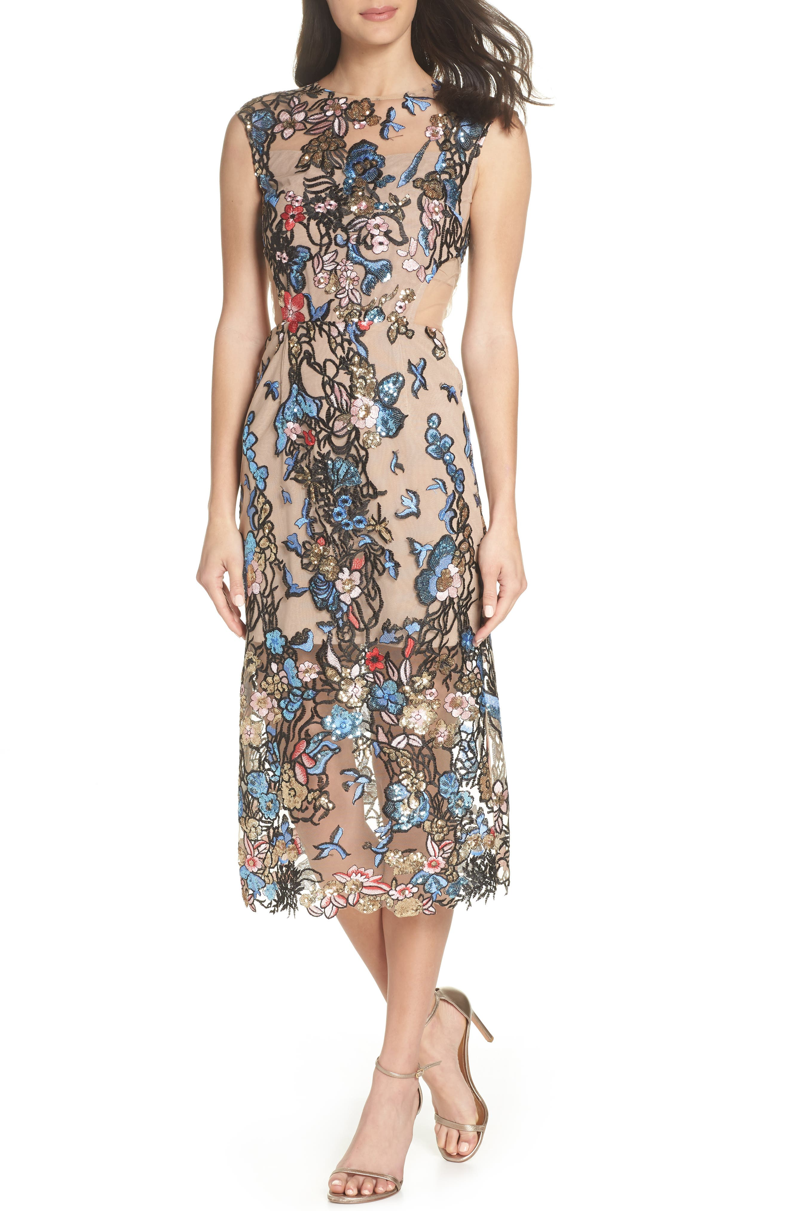 Bird of Paradise Sequin Embroidered Midi Dress,                             Main thumbnail 1, color,                             259