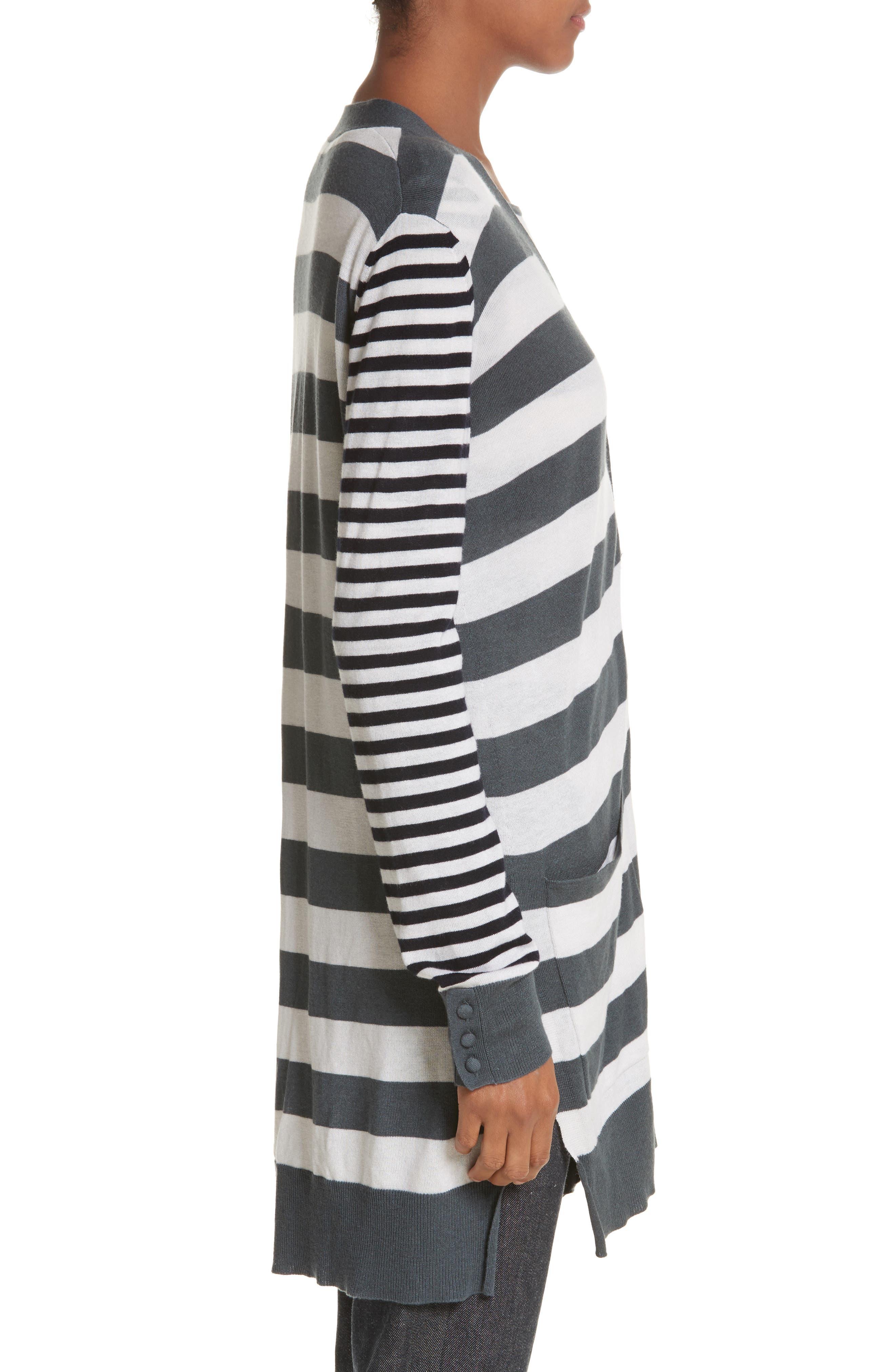 Etiopia Stripe Silk & Cashmere Cardigan,                             Alternate thumbnail 3, color,                             054