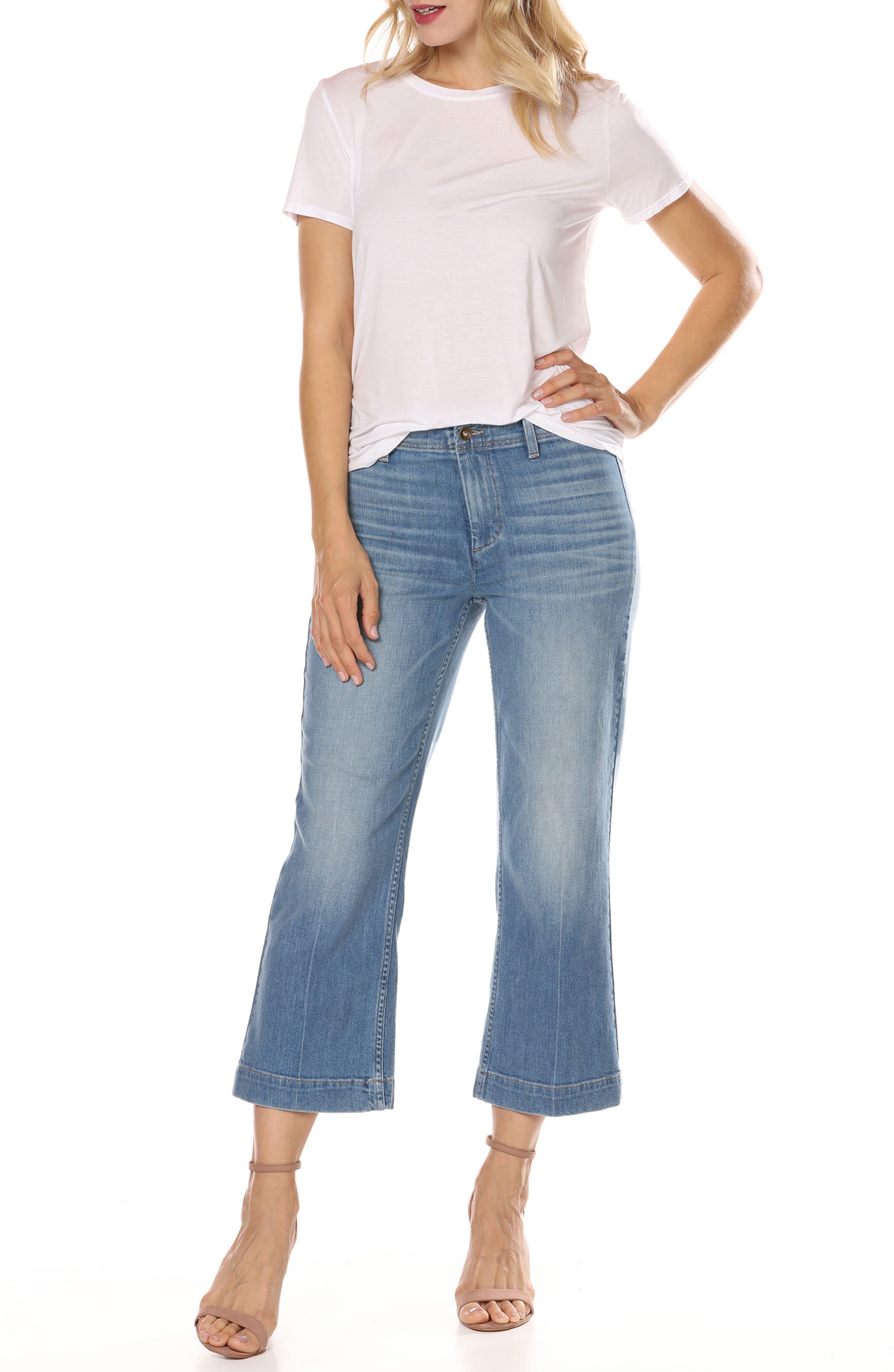 Nellie High Waist Culotte Jeans,                             Alternate thumbnail 4, color,                             400