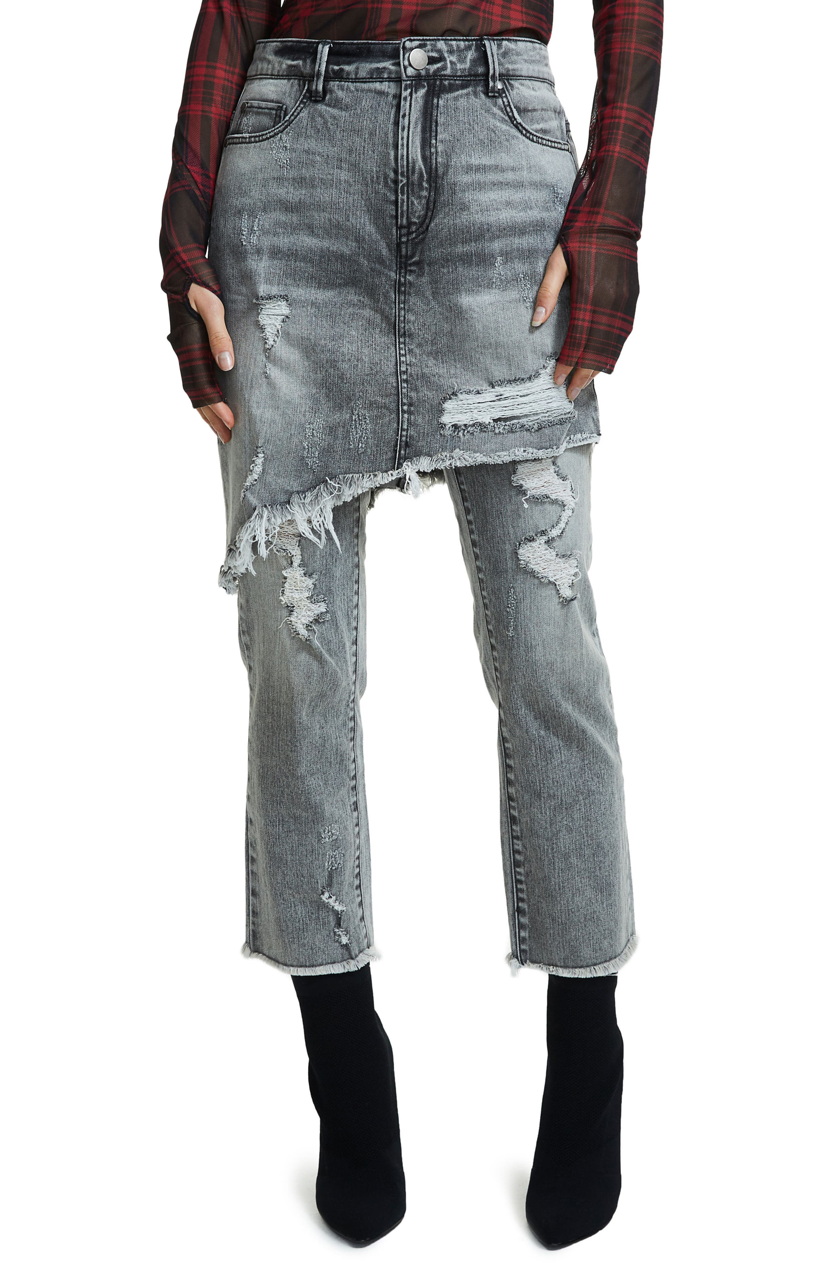 Maxon Ripped Skirted Crop Jeans,                             Main thumbnail 1, color,                             001