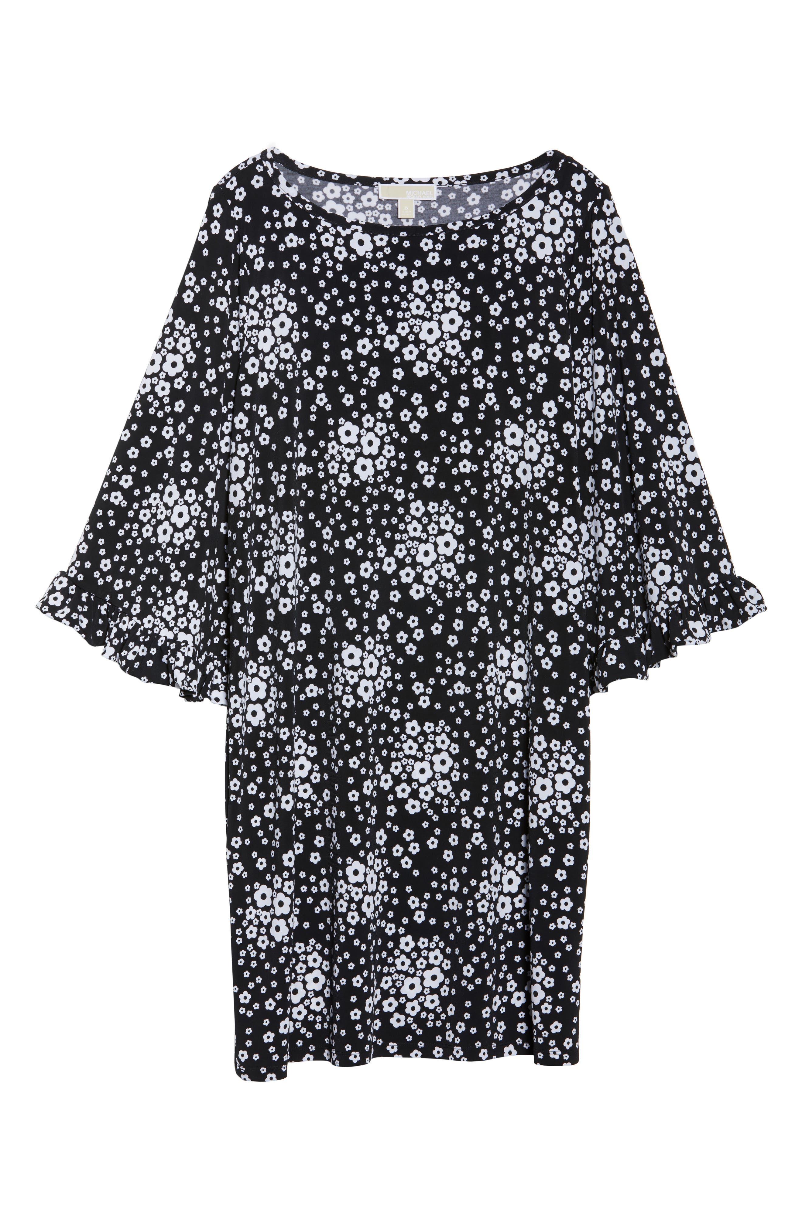 Mod Floral Flutter Sleeve Dress,                             Alternate thumbnail 6, color,                             018