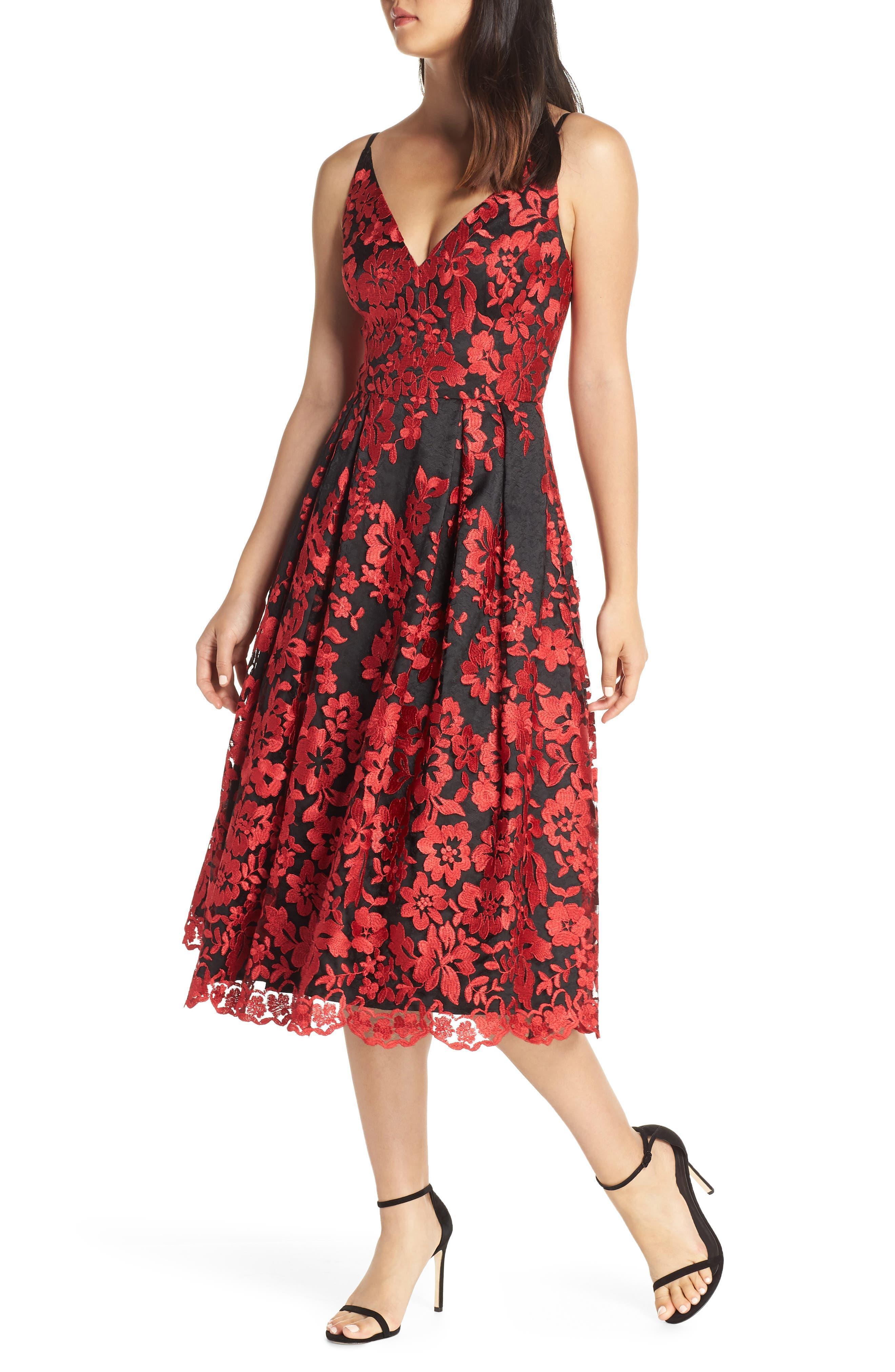 Eliza J Lace Fit & Flare Dress, Red