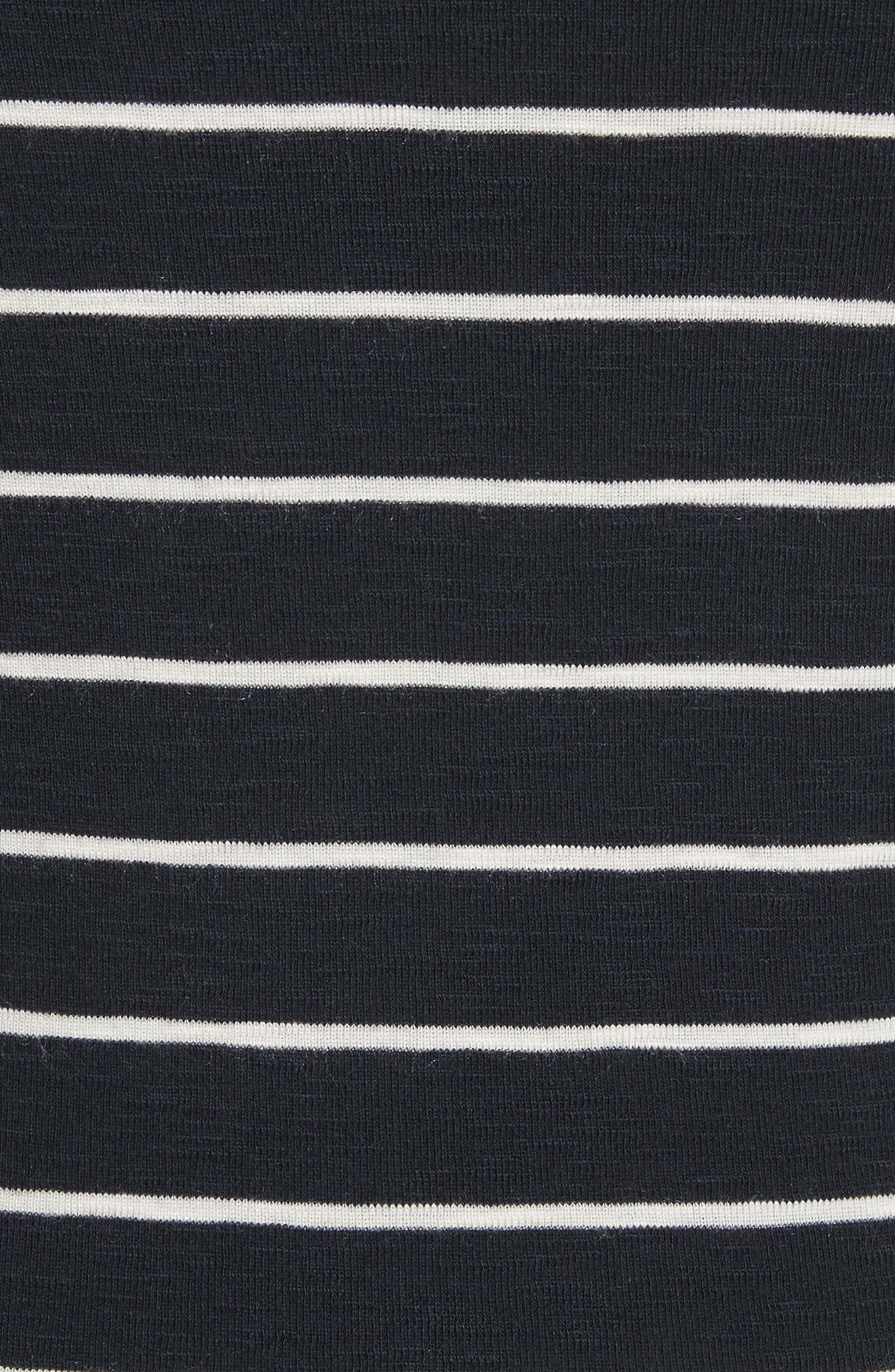 Chalk Stripe Fitted Crewneck Tee,                             Alternate thumbnail 5, color,                             467