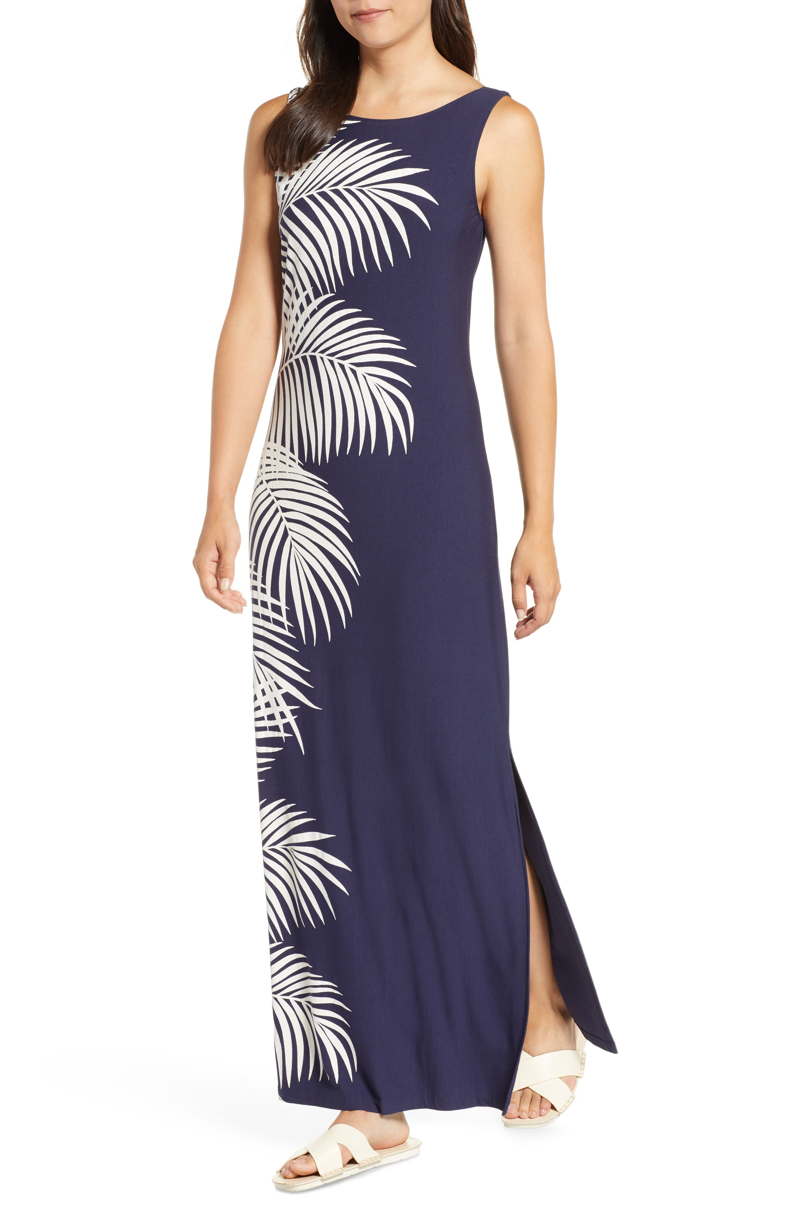 Gentlemen Prefer Fronds Maxi Dress,                             Main thumbnail 1, color,                             OCEAN DEEP