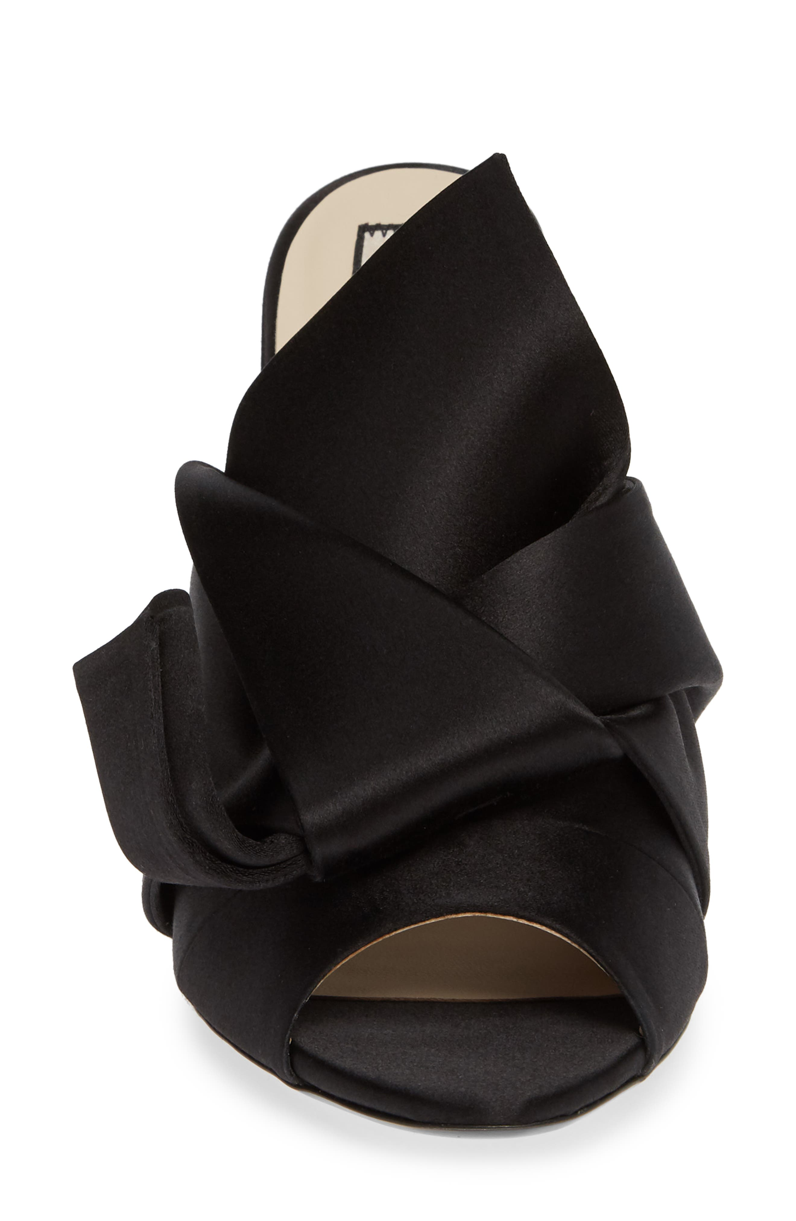 Bow Sandal,                             Alternate thumbnail 4, color,                             BLACK FABRIC