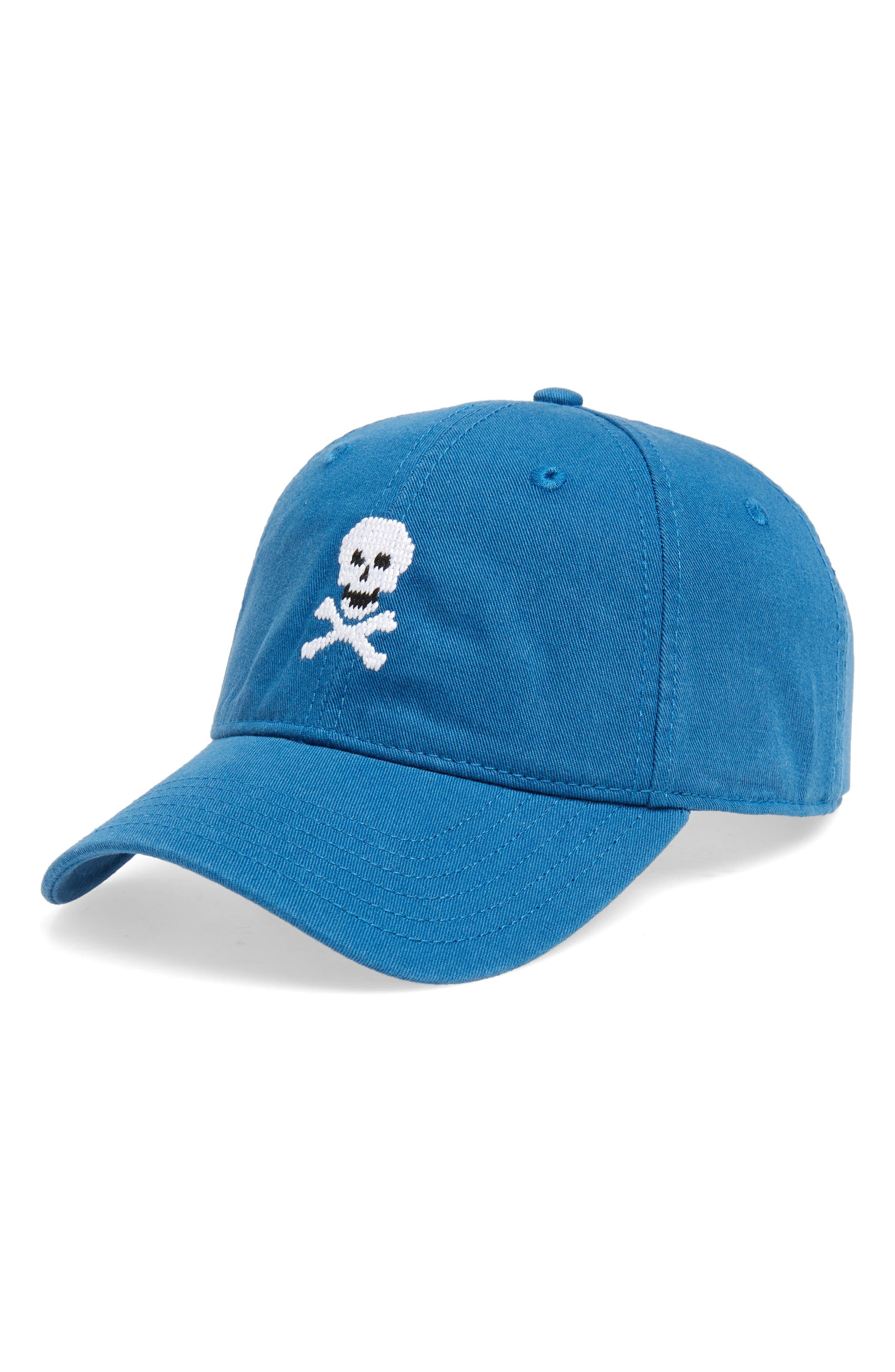 Skull & Bones Baseball Cap,                         Main,                         color, CASPIAN BLUE