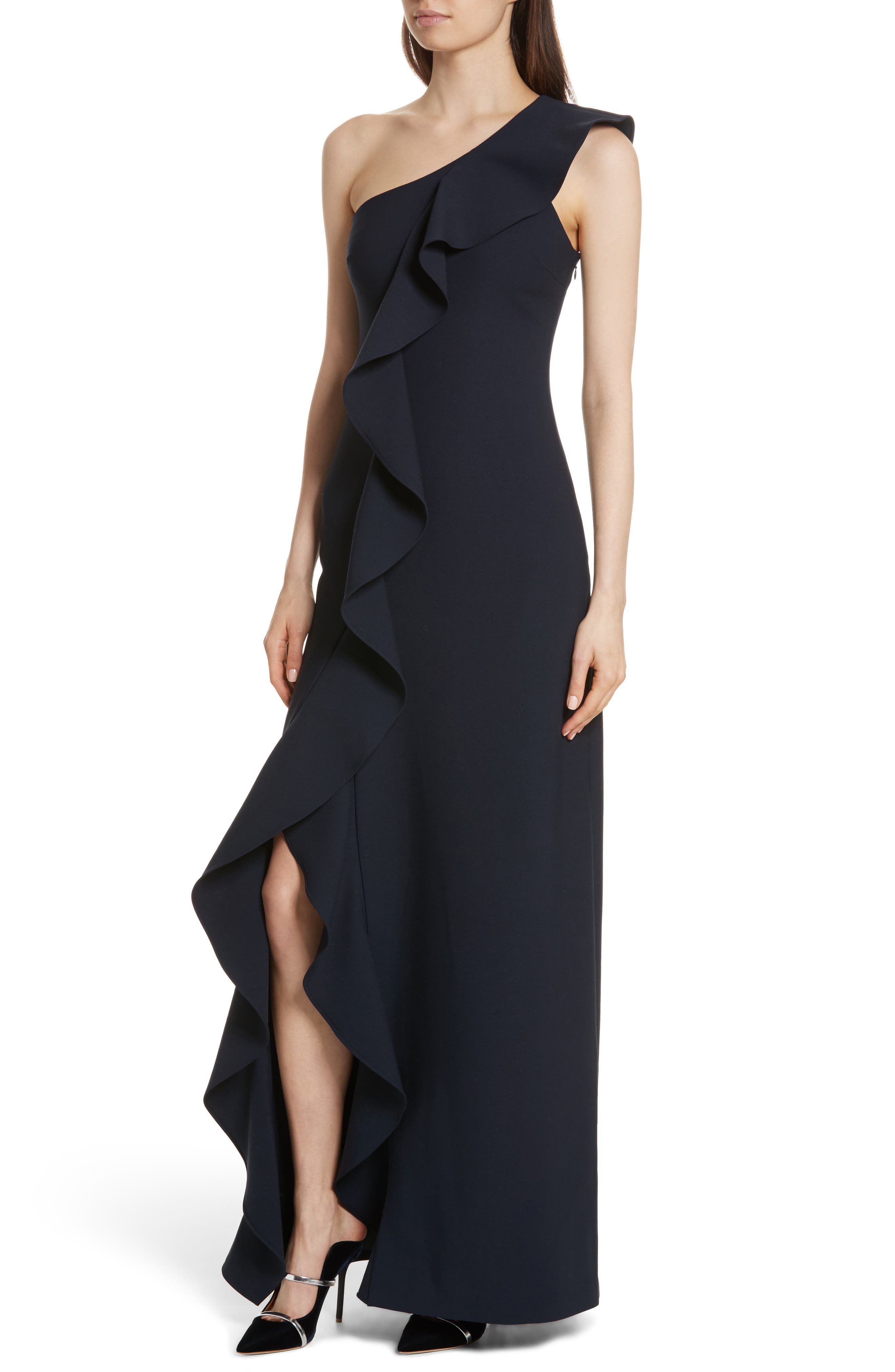 Remy One Shoulder Ruffle Gown,                             Alternate thumbnail 4, color,                             410
