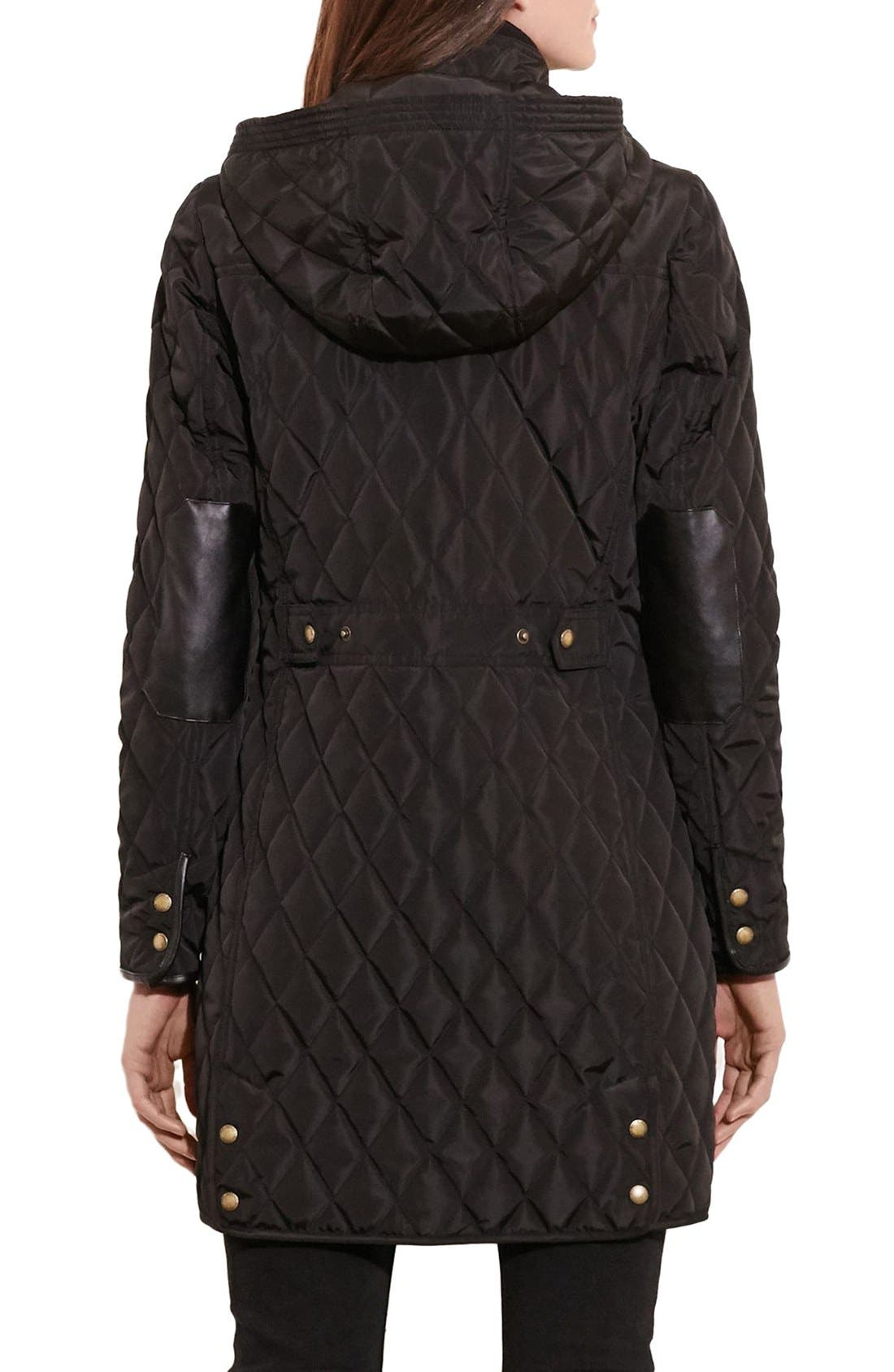 Diamond Quilted Coat with Faux Leather Trim,                             Alternate thumbnail 14, color,