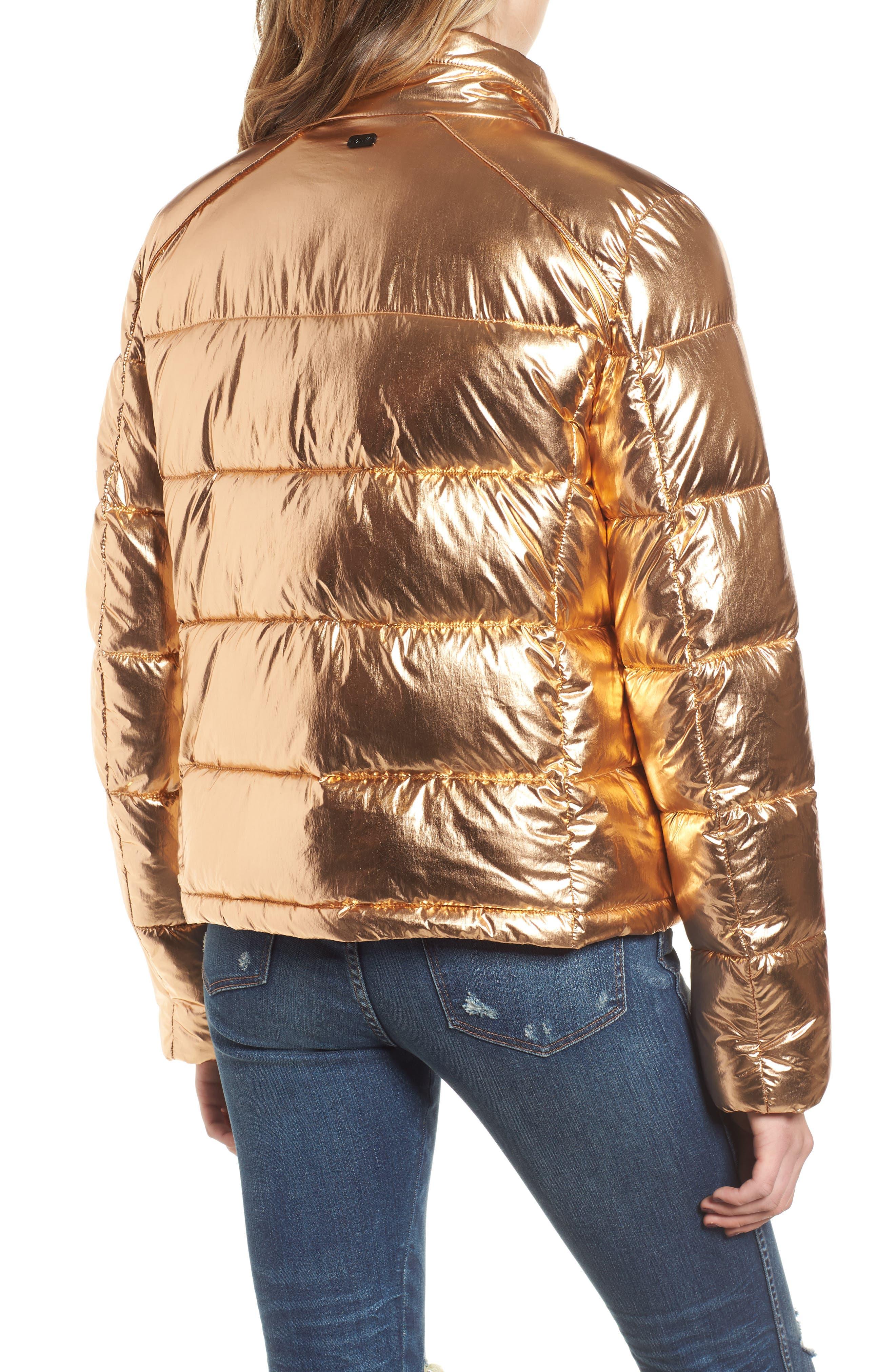 Metallic Puffer Jacket,                             Alternate thumbnail 2, color,                             COPPER