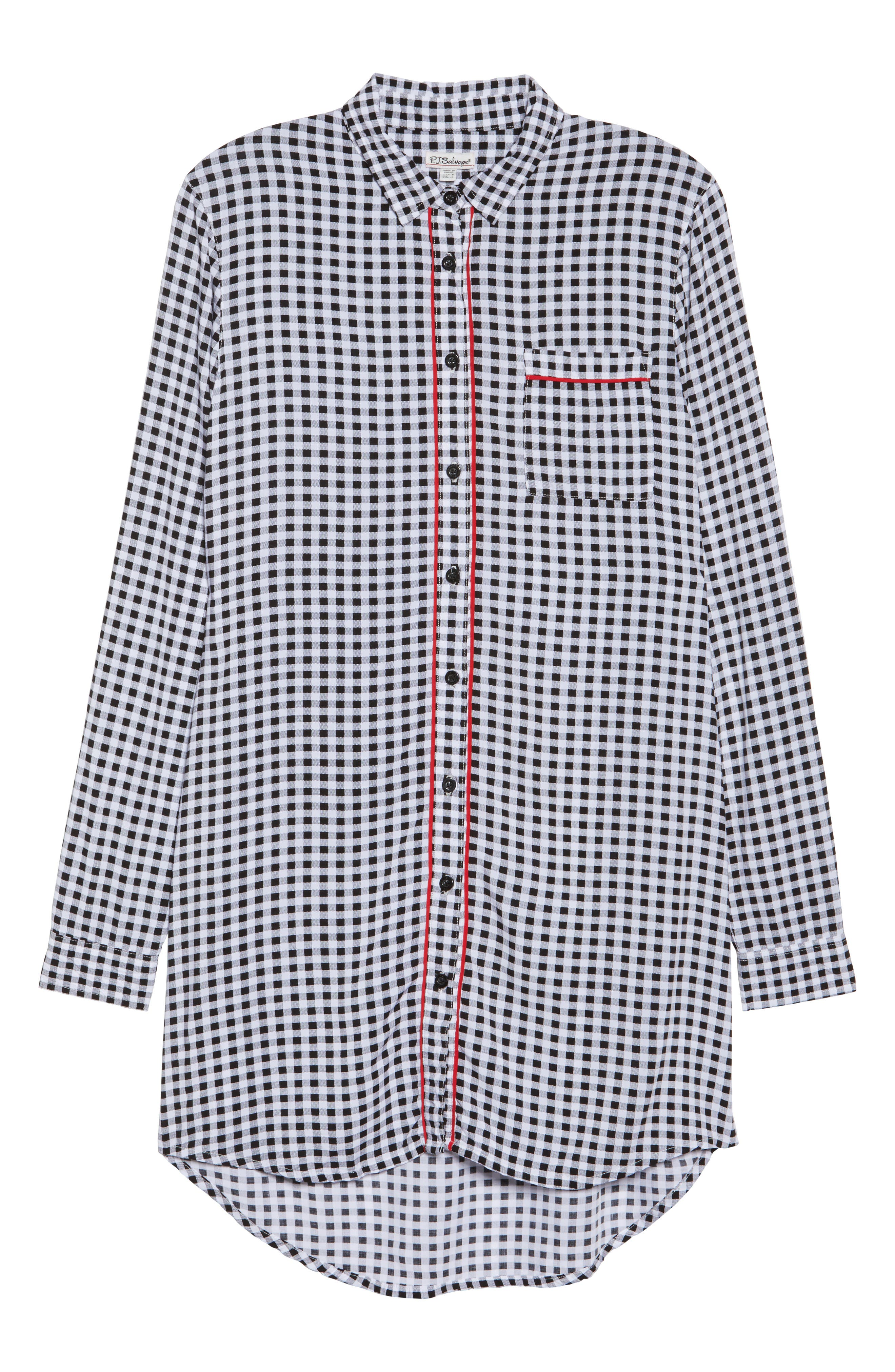 Gingham Sleep Shirt,                             Alternate thumbnail 6, color,                             001