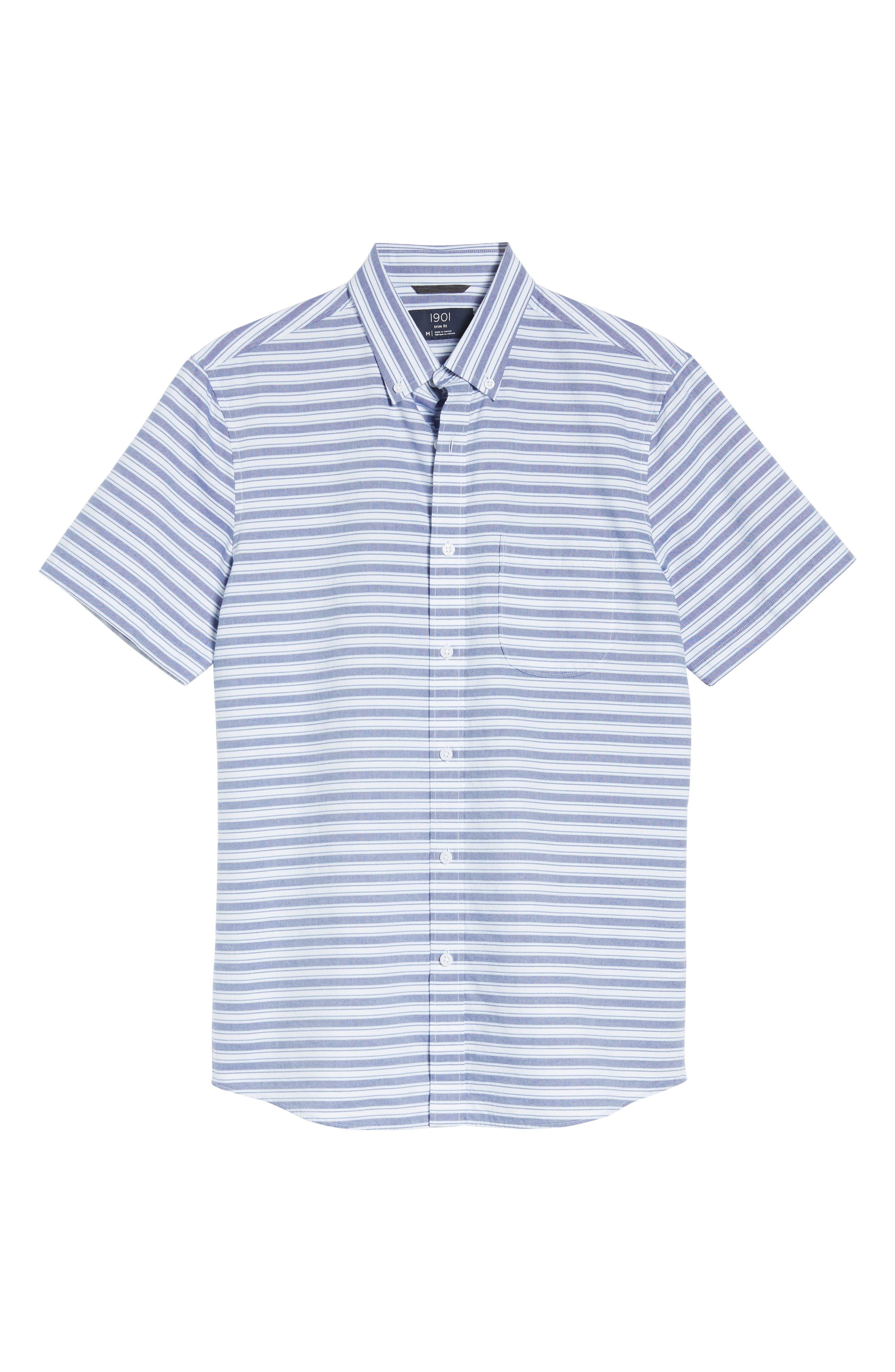 Trim Fit Stripe Round Pocket Sport Shirt,                             Alternate thumbnail 6, color,                             420