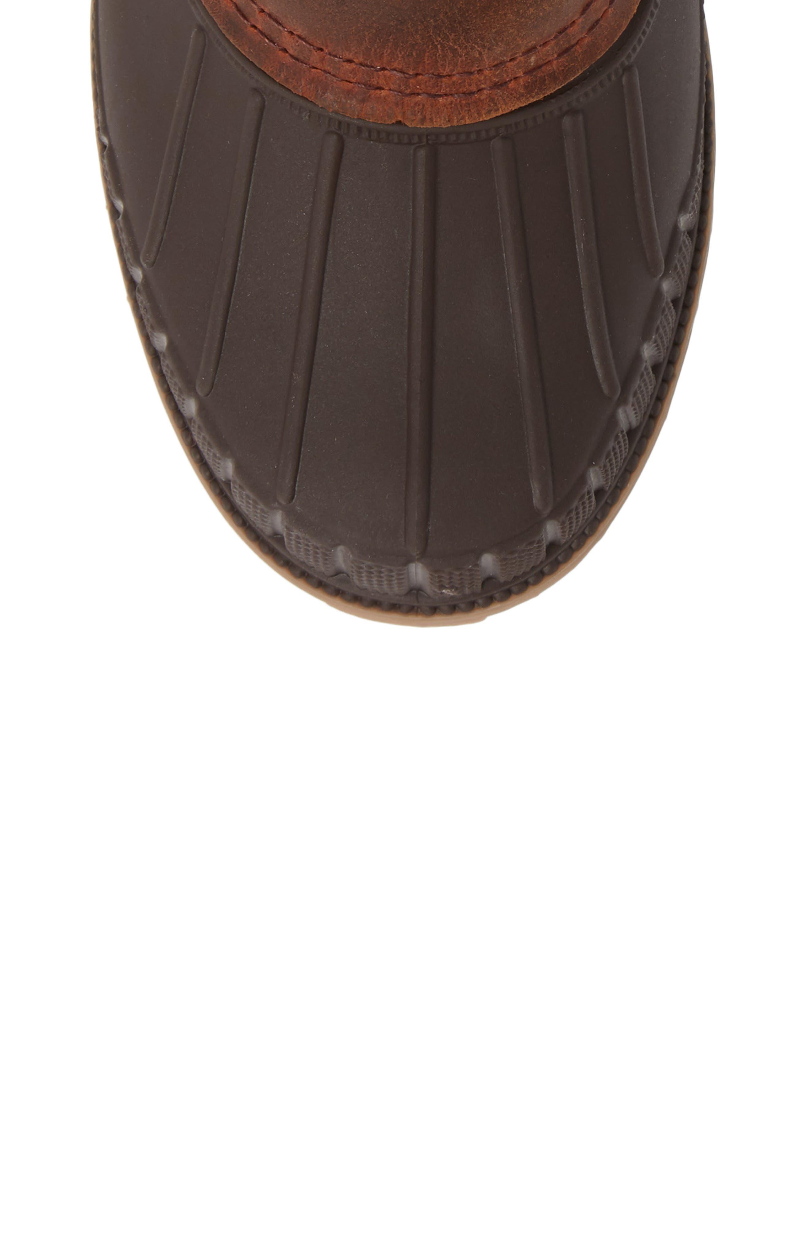 Sienna 2 Duck Waterproof Boot,                             Alternate thumbnail 5, color,                             DARK BROWN LEATHER