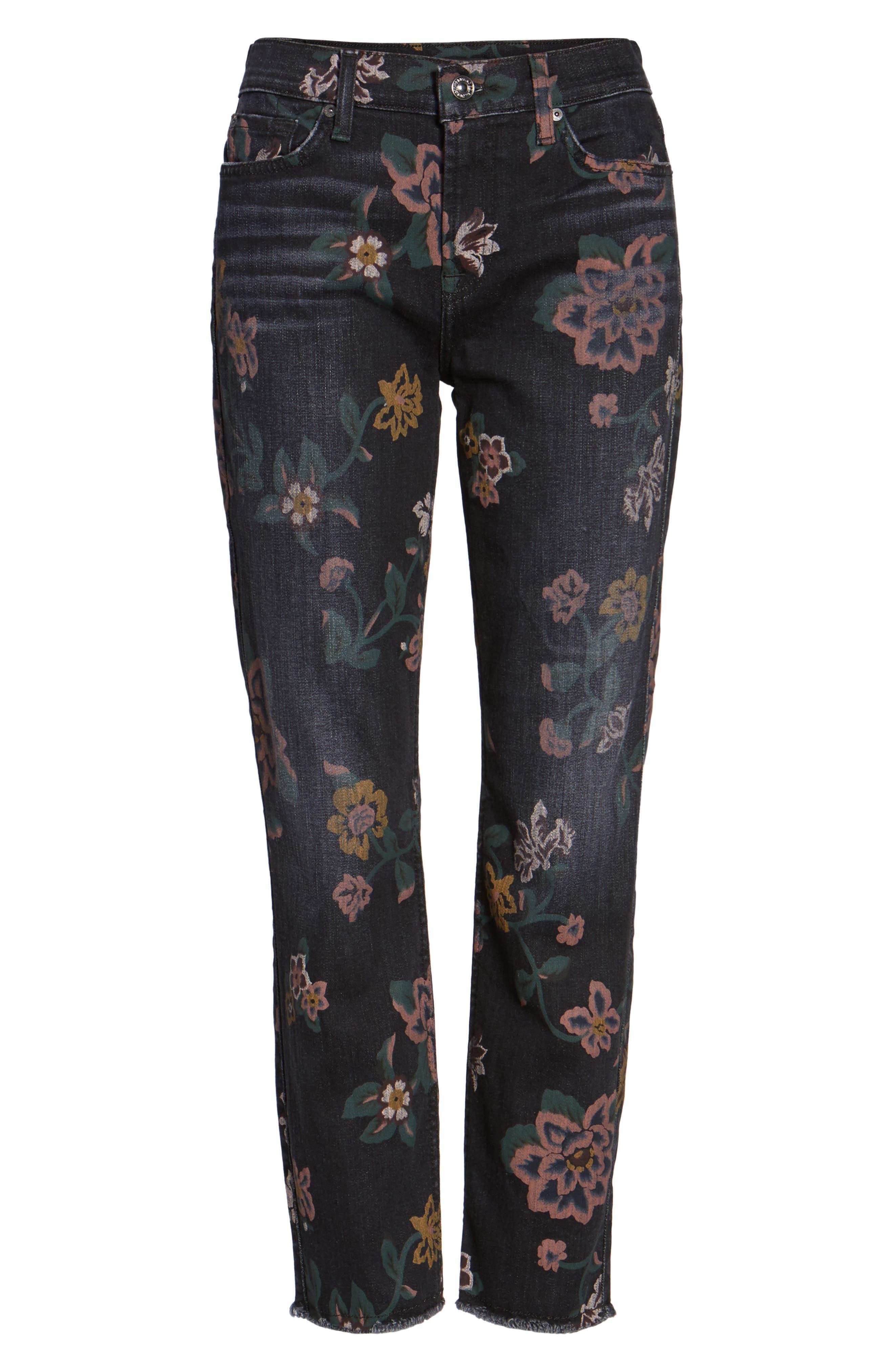 Roxanne Floral Print Ankle Slim Jeans,                             Alternate thumbnail 6, color,                             004