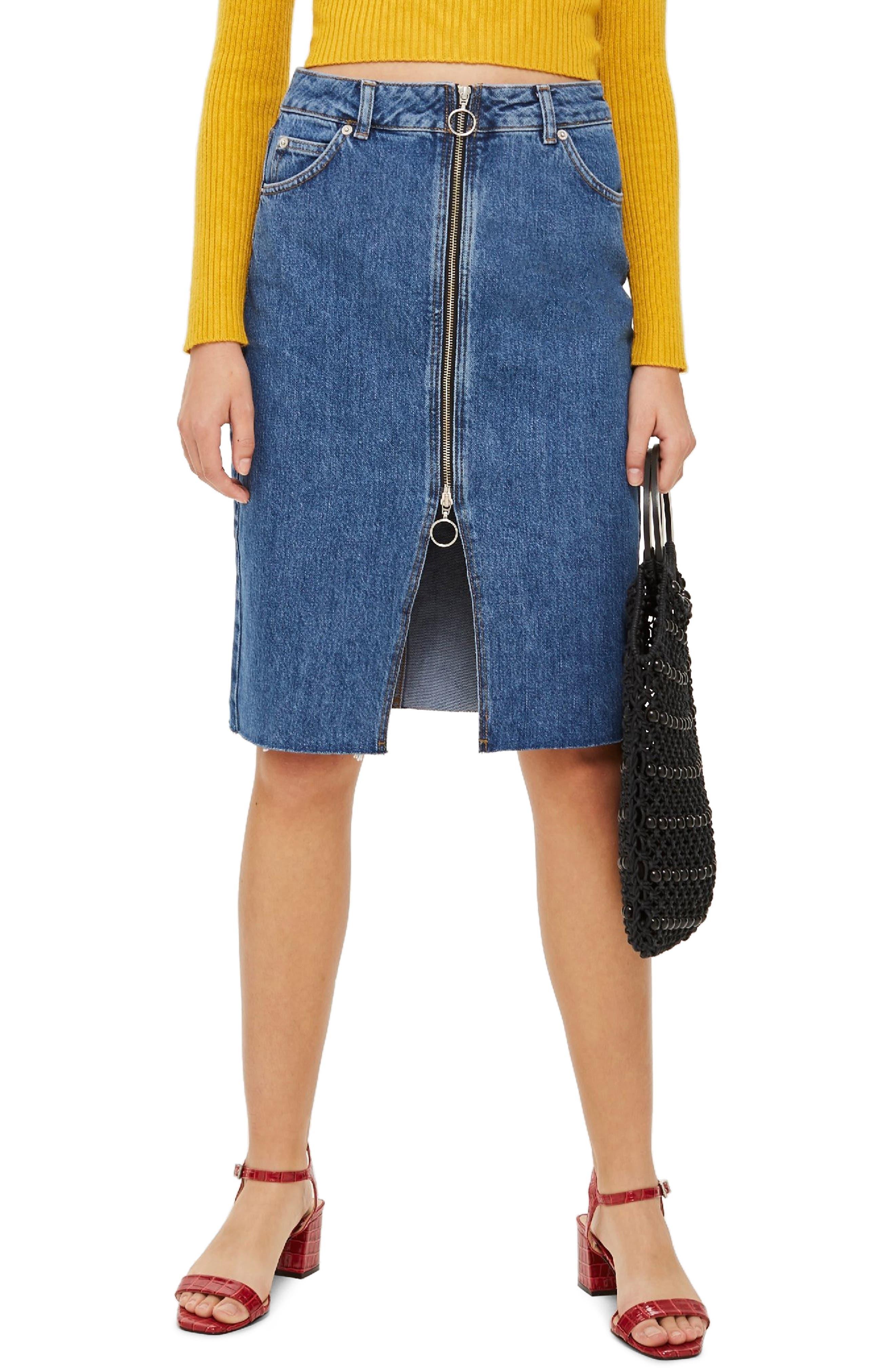 Topshop Zip-Through Denim Midi Skirt, US (fits like 0) - Blue