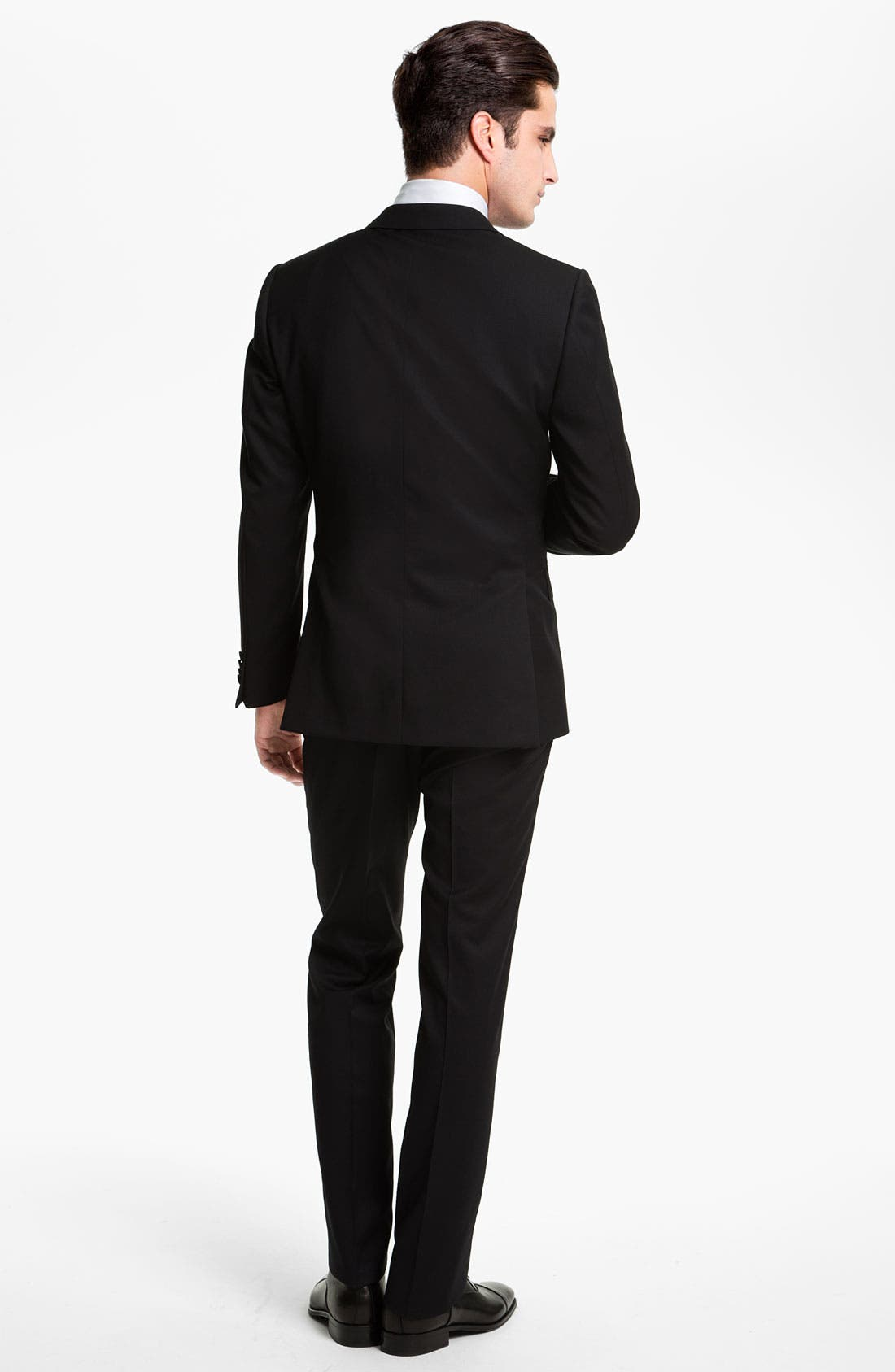 'Marlyn' Sharp Fit Stripe French Cuff Tuxedo Shirt,                             Alternate thumbnail 7, color,