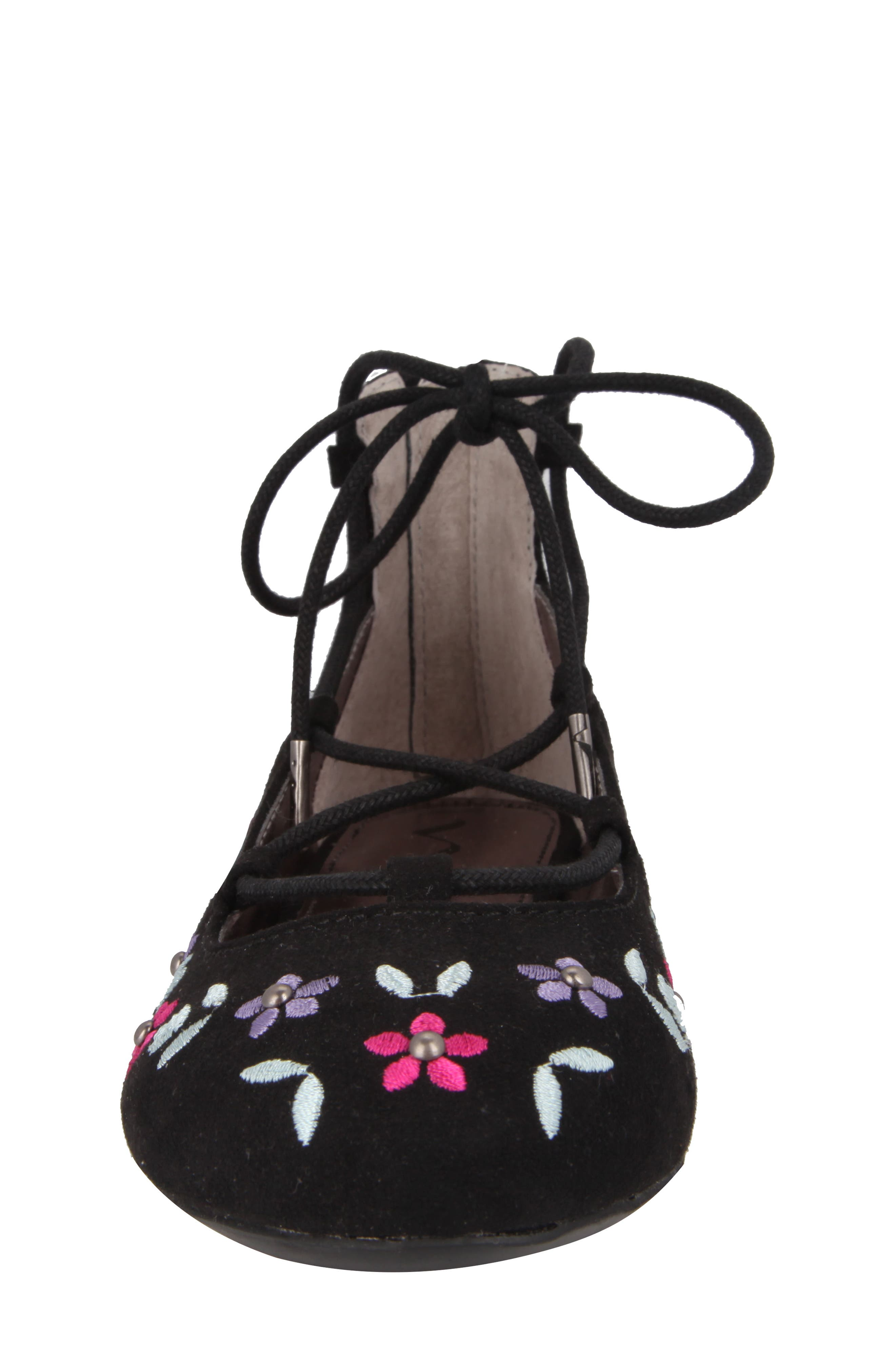 Nelly Embroidered Ghillie Flat,                             Alternate thumbnail 4, color,                             003