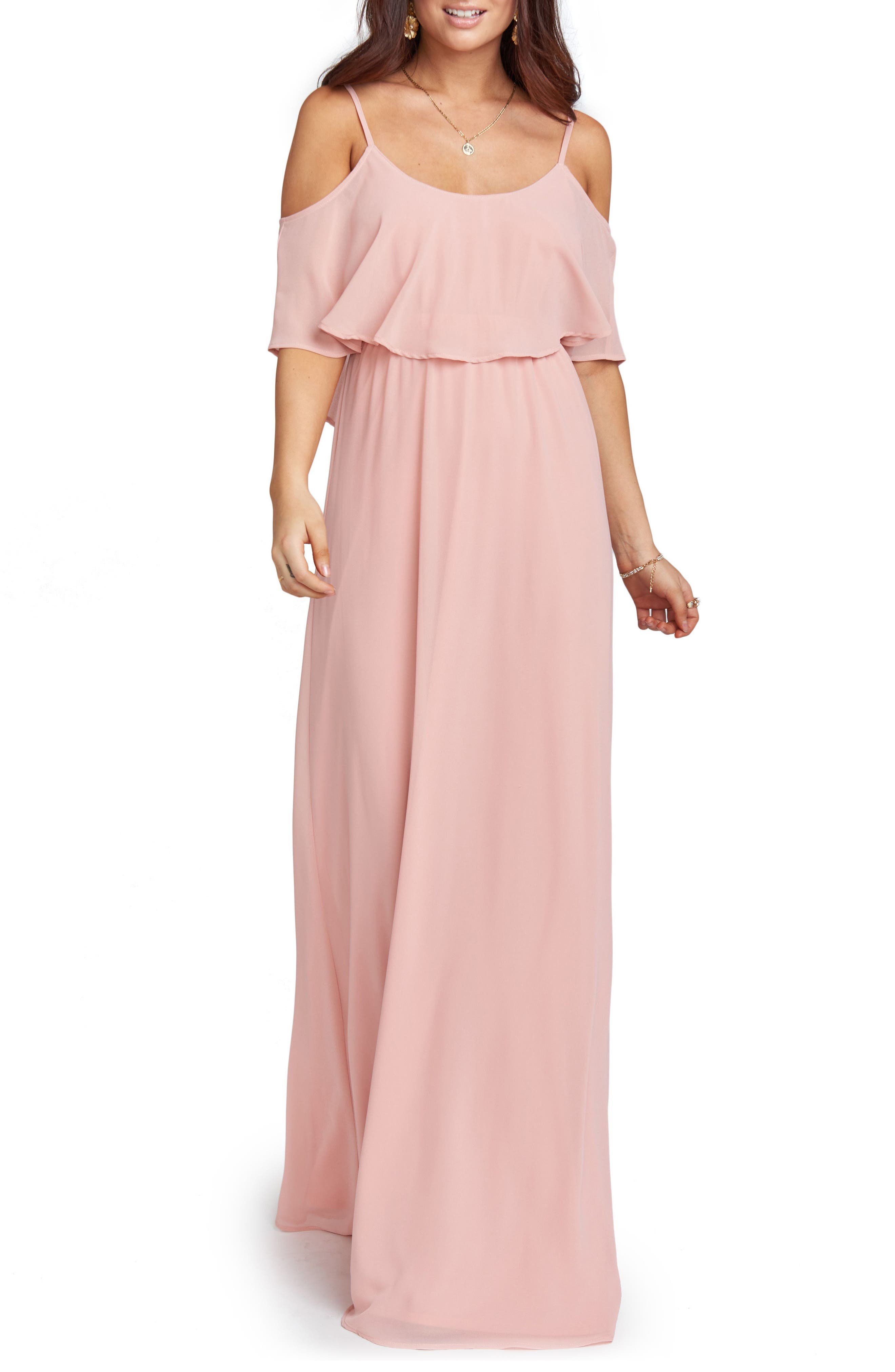 Caitlin Cold Shoulder Chiffon Gown,                         Main,                         color, ROSEBUD CHIFFON