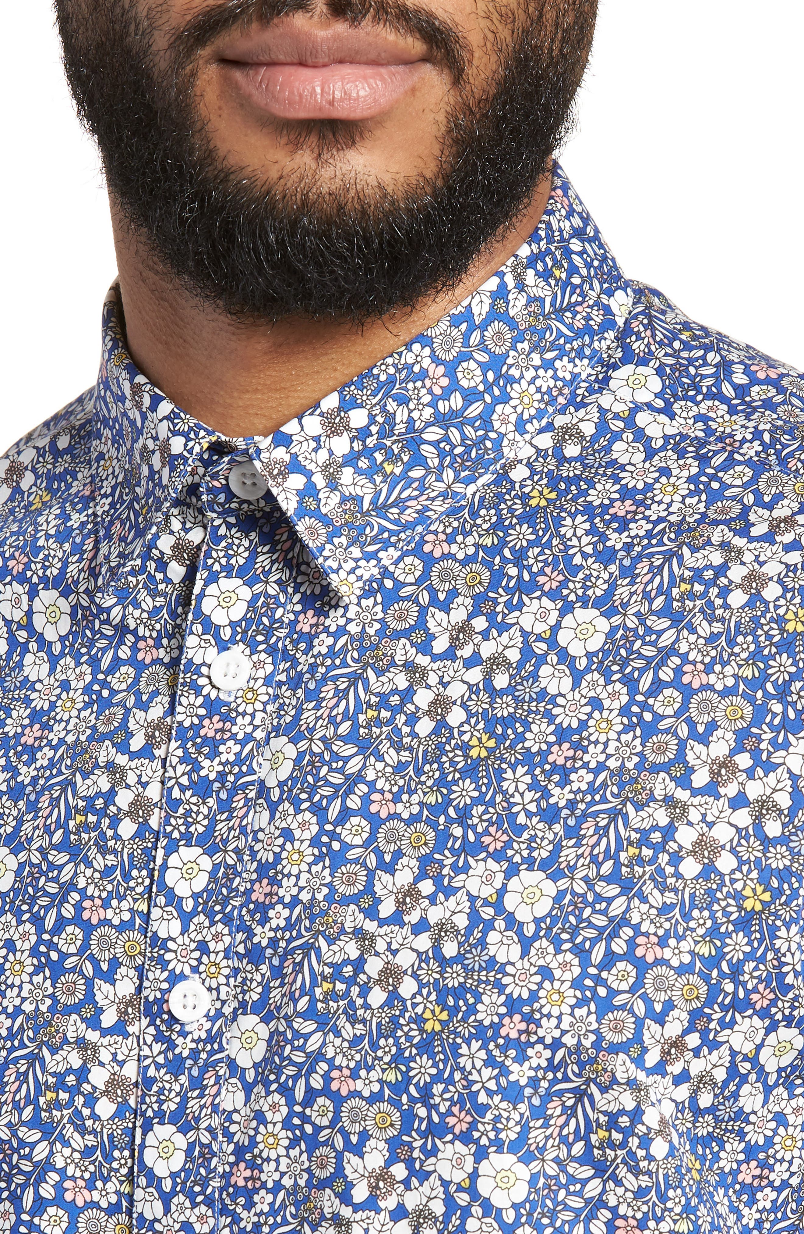 Trim Fit Print Woven Short Sleeve Shirt,                             Alternate thumbnail 4, color,                             400
