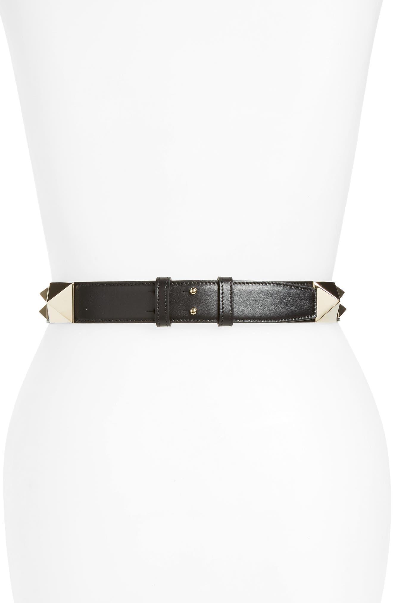 GARAVANI Lovestud Calfskin Leather Belt,                             Alternate thumbnail 2, color,                             001