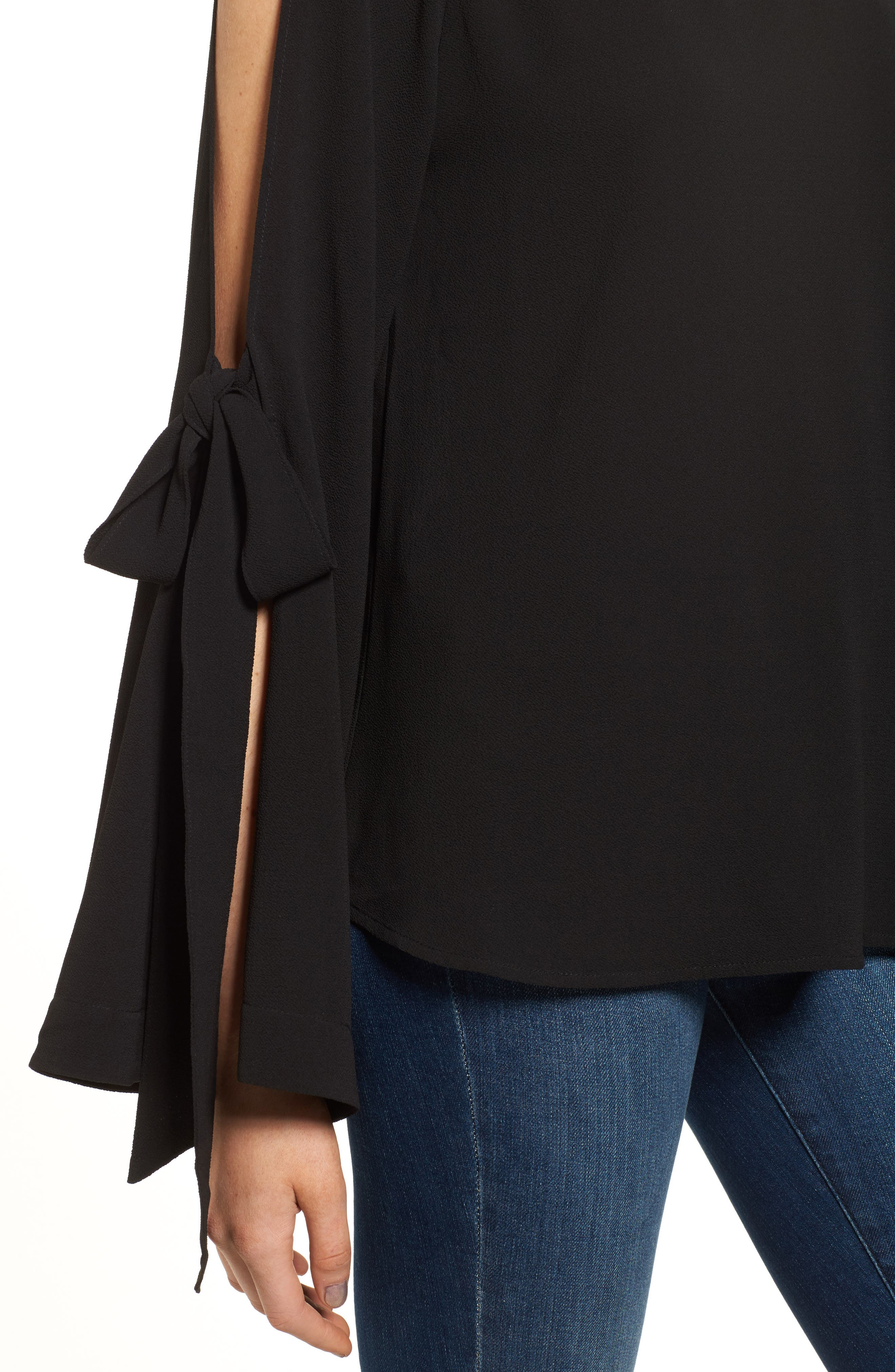 Tie Sleeve Blouse,                             Alternate thumbnail 4, color,                             001
