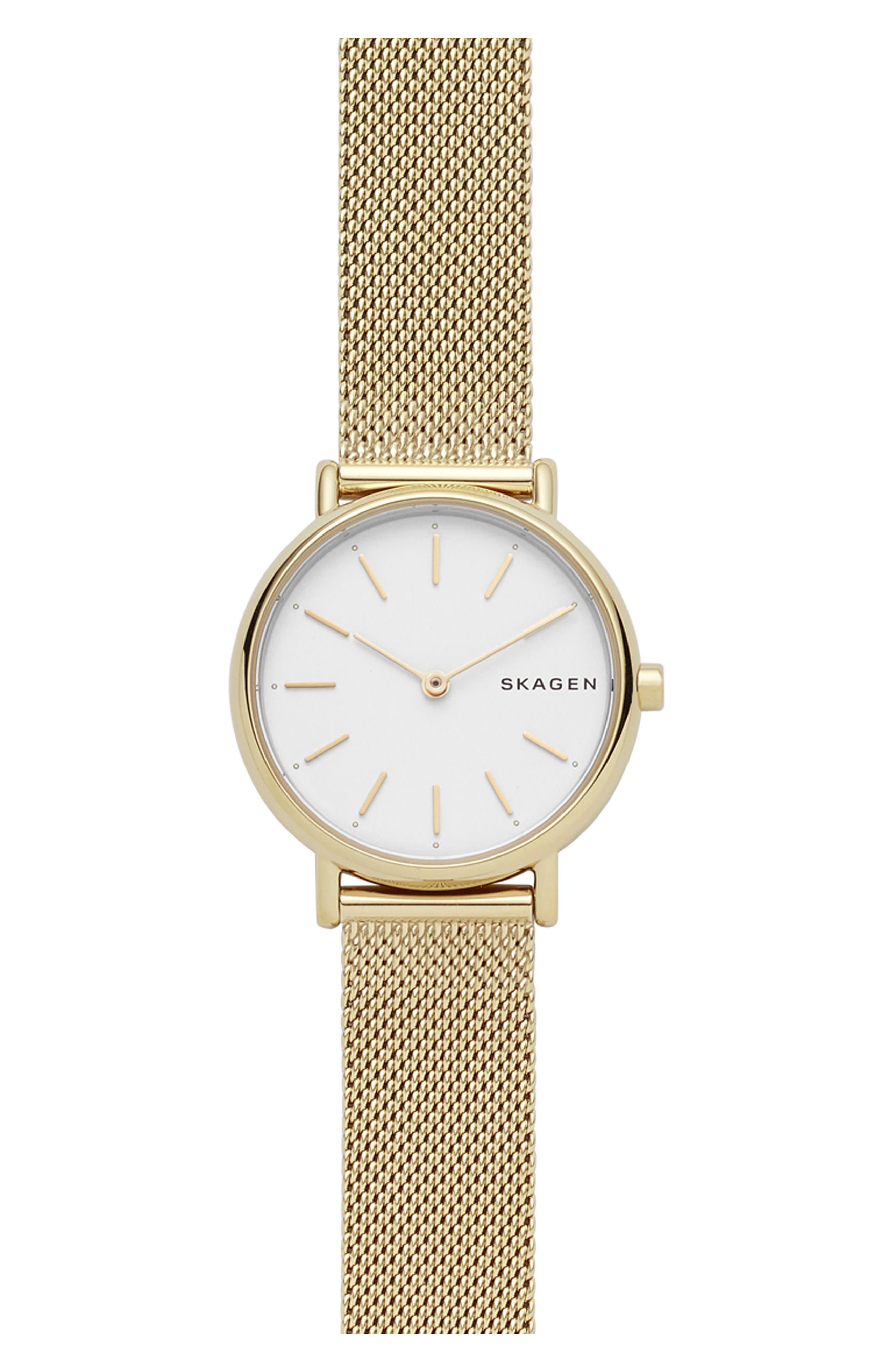 Signatur Slim Mesh Strap Watch, 30mm,                         Main,                         color, GOLD/ WHITE/ GOLD