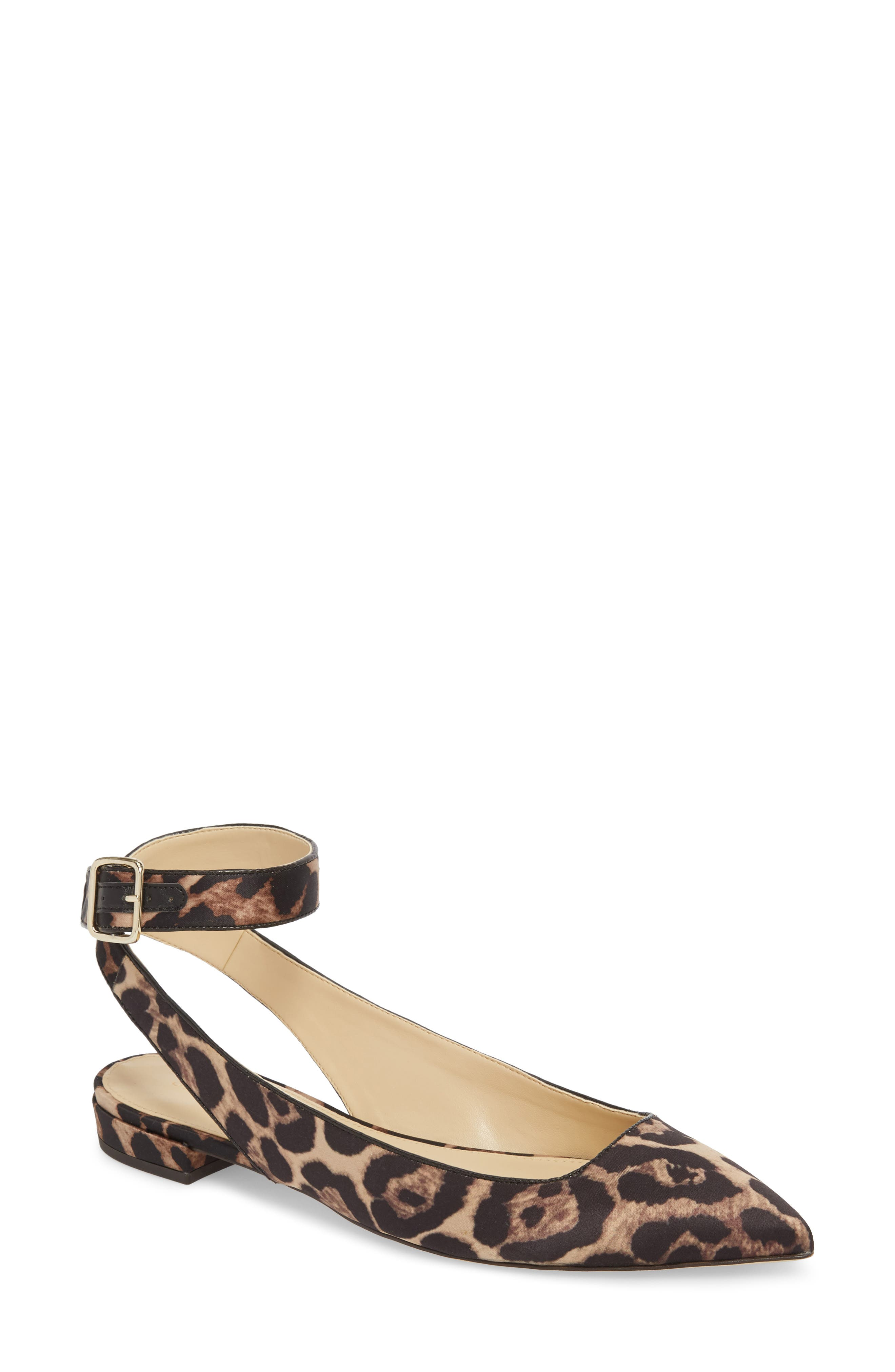 J. Crew Harlech Tabby Print Ankle Strap Flat,                             Main thumbnail 1, color,